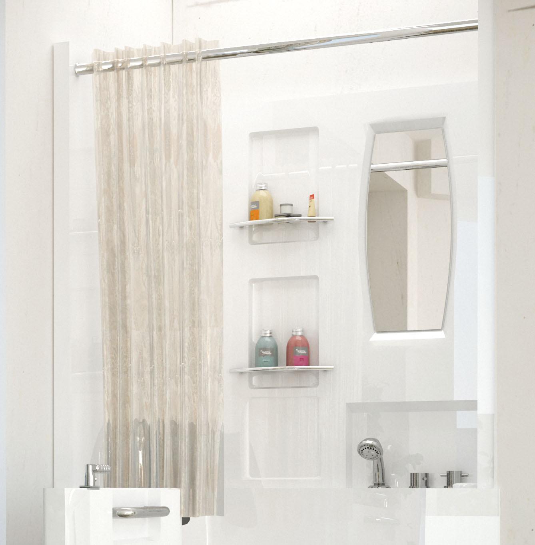 MediTub 3140SEN Shower Enclosure 3-Piece Walk-In Bathtub Surround in White