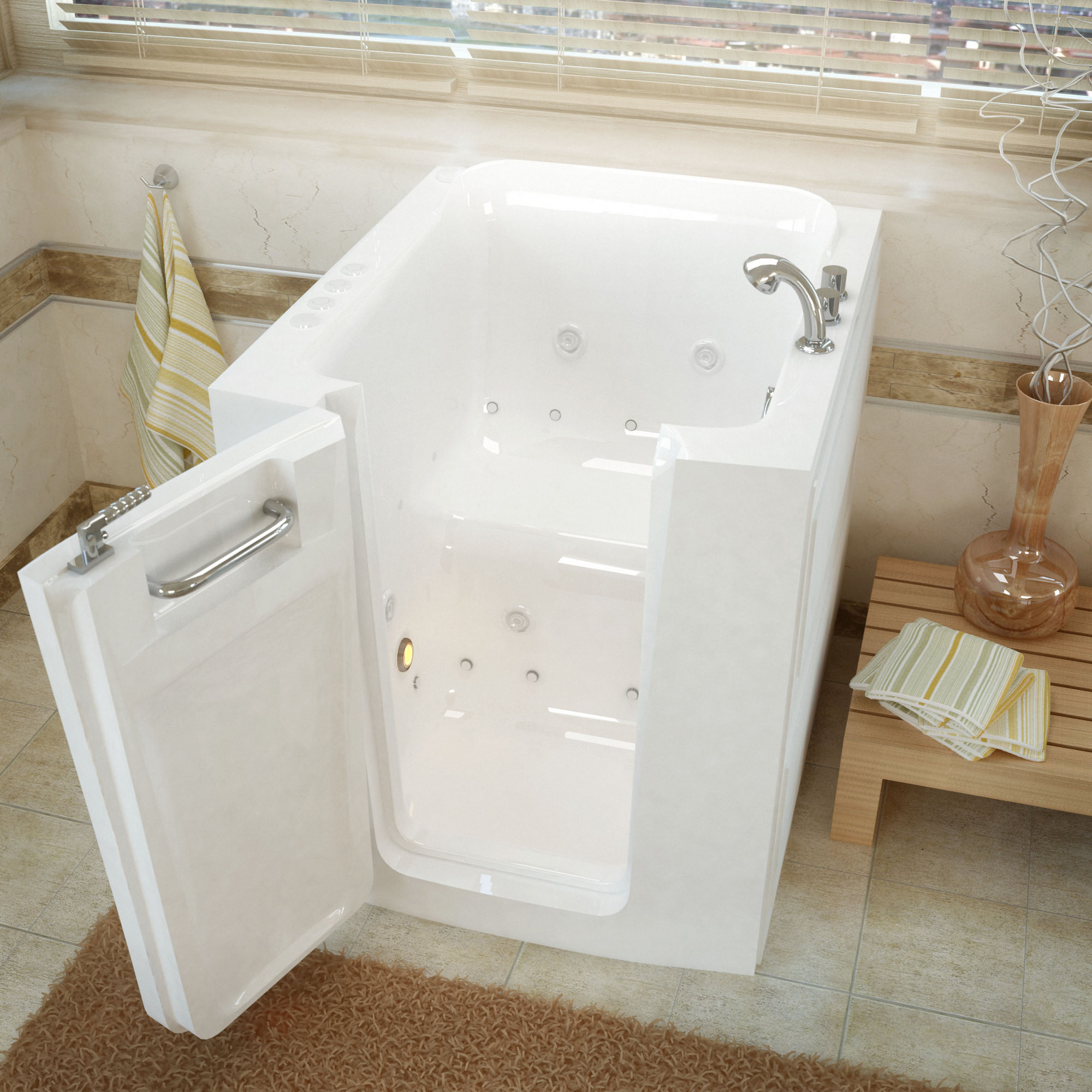 MediTub 3238LWD Walk-In Left Door White Whirlpool And Air Jetted Bathtub