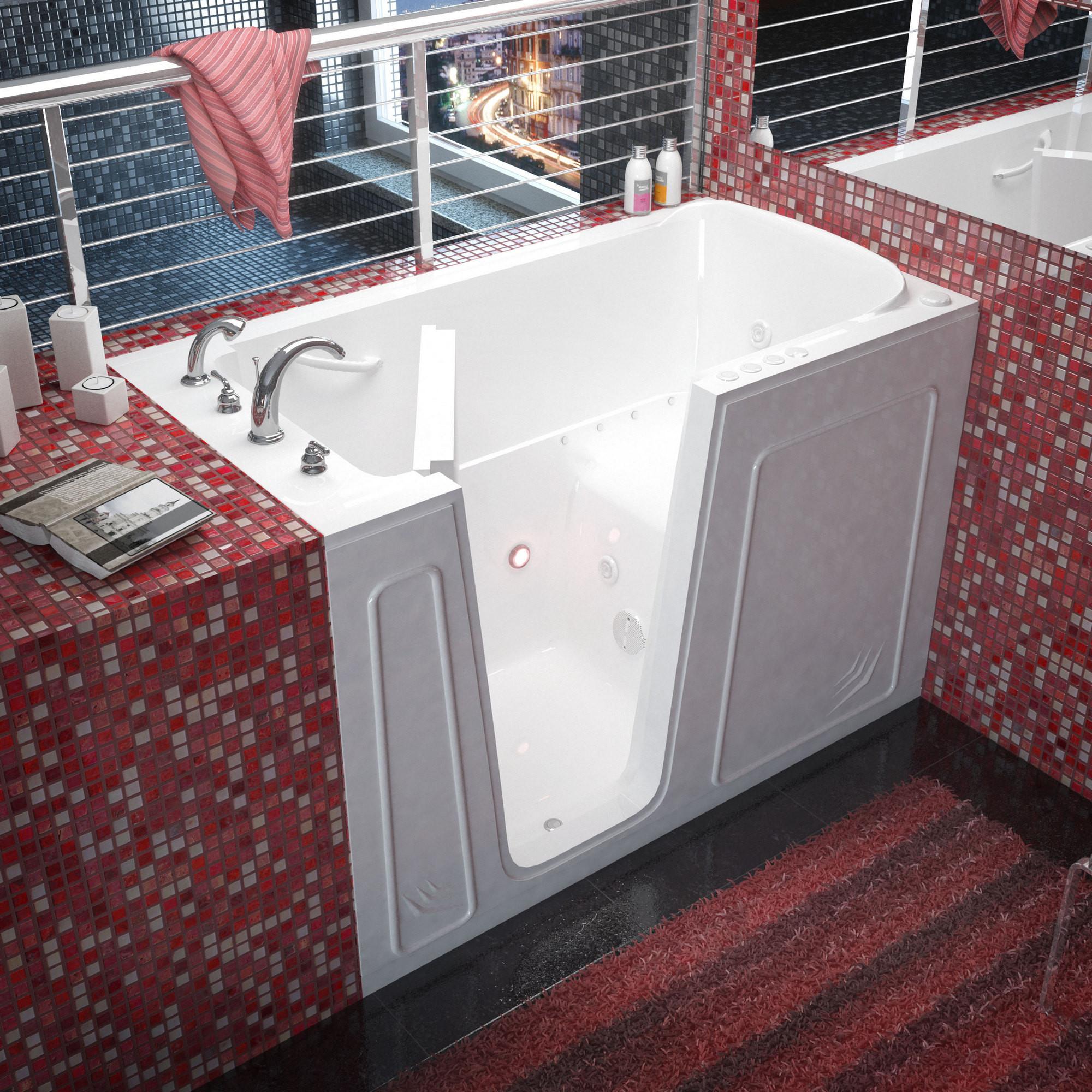 MediTub 3260LWD Walk-In Left Drain White Whirlpool & Air Jetted Bathtub