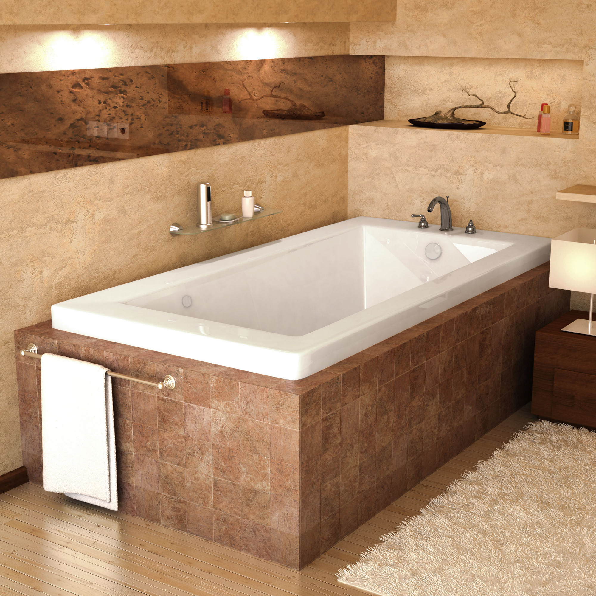 Meditub 3260VNAL Venetian Rectangular Air Jetted Bathtub With Left Drain