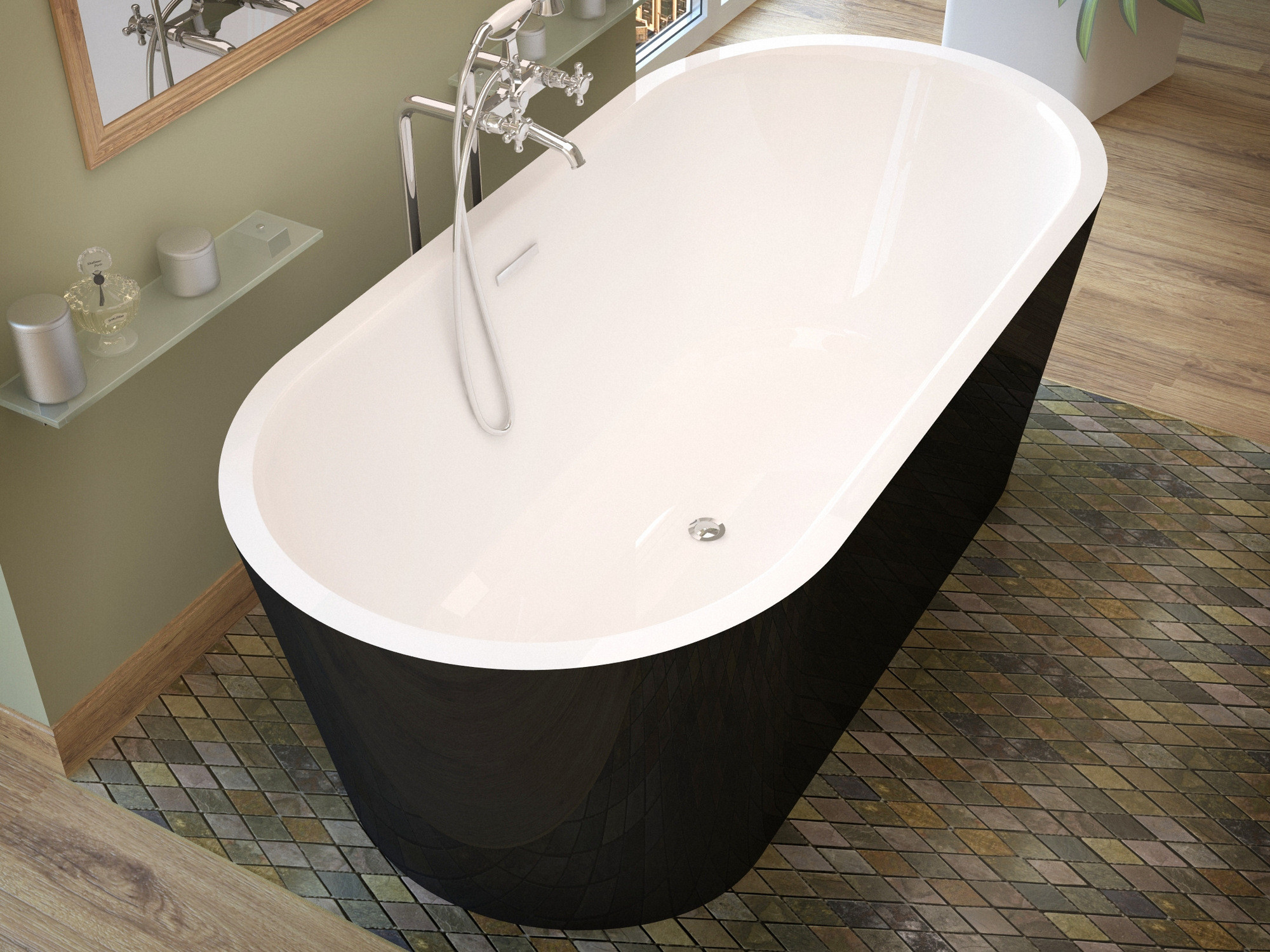 MediTub 3263VY Valley Freestanding One Piece Soaker Tub With Center Drain