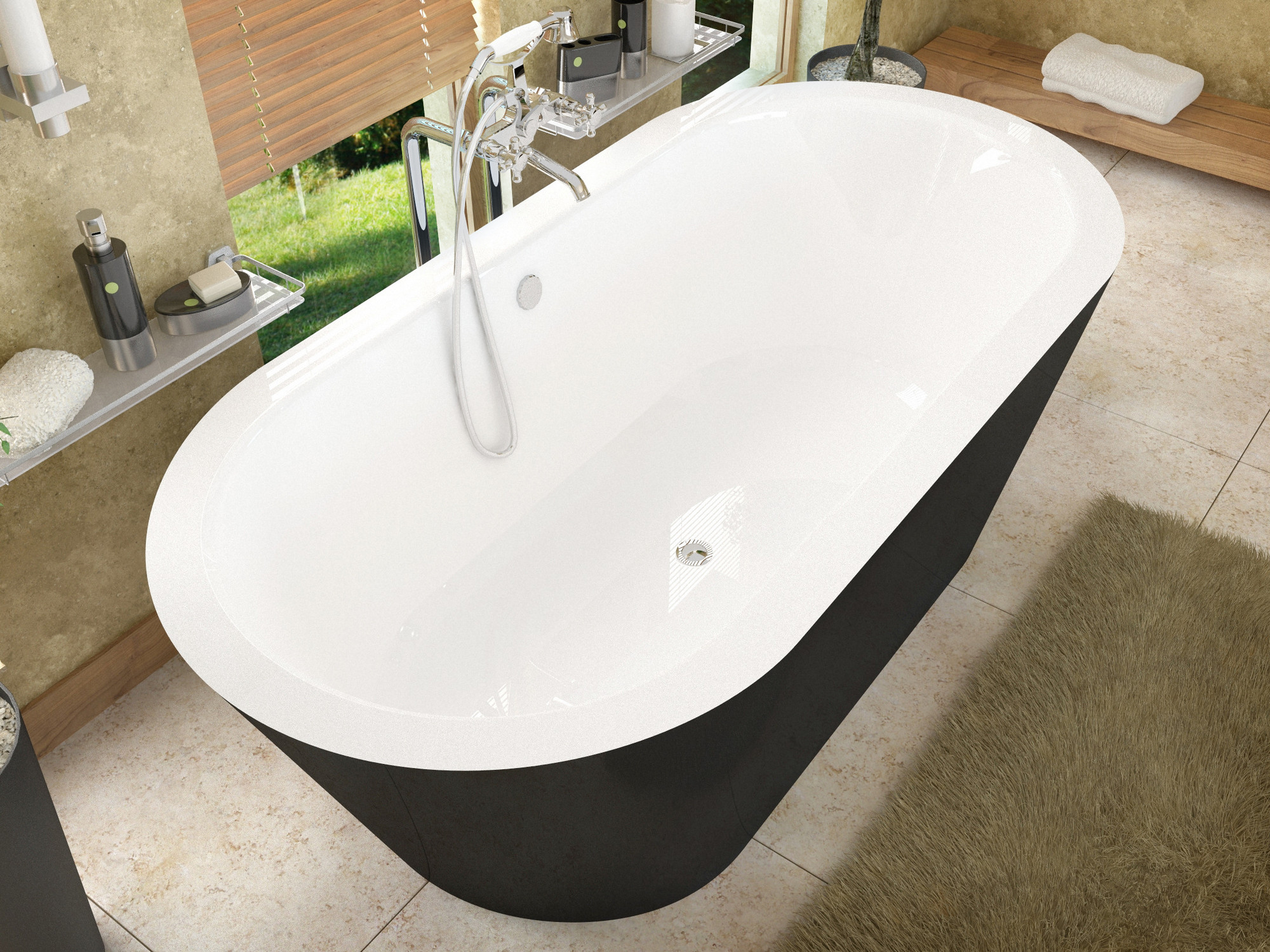 MediTub 3270VY Atlantis Valley One Piece Soaker Tub With Center Drain