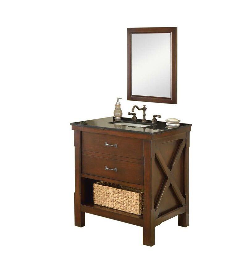 "Direct Vanity Sink 32S1-ESBK-M - Xtraordinary Spa 32"" Dark Brown Vanity With Black Top And Mirror"