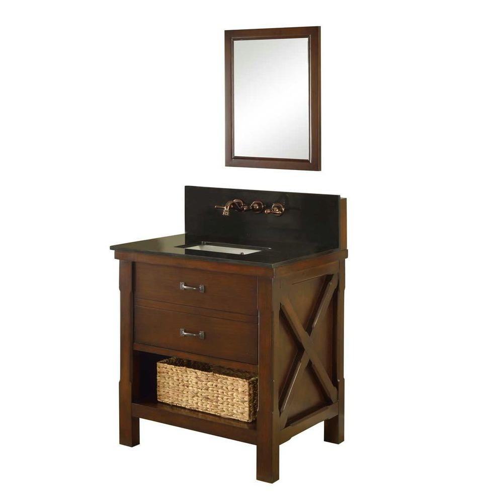 """Direct Vanity Sink 32S1-ES-WM Premium 32"""" Vanity In DarDirect Vanity Sink 32S1-ESBK-WM-M Premium 32"""" Vanity In Dark Brown With Black Top And Mirrork Brown With Black Top And Mirror"""