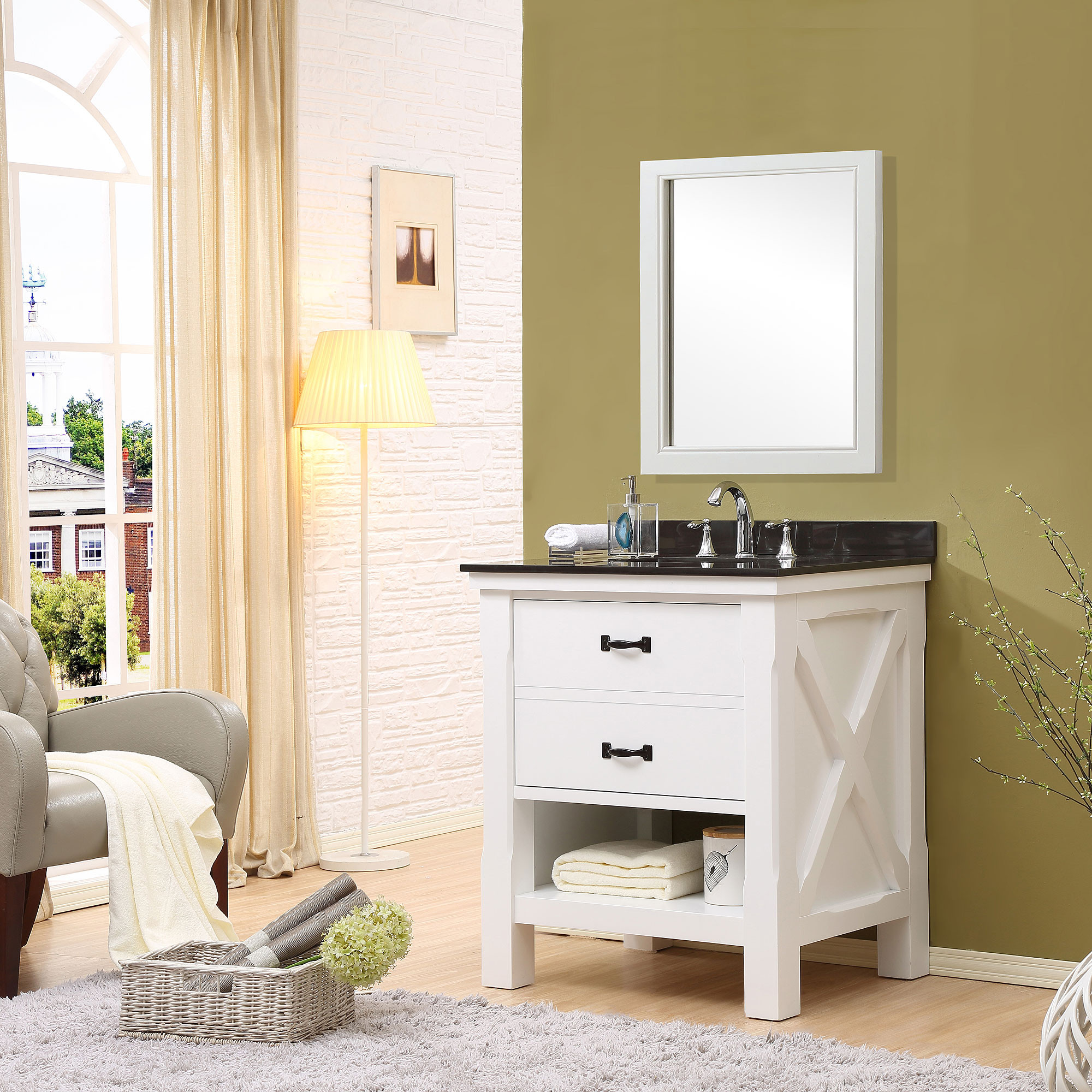 "Direct Vanity Sink 32S1-WB Xtraordinary Spa 32"" White Vanity With Black Granite Top"