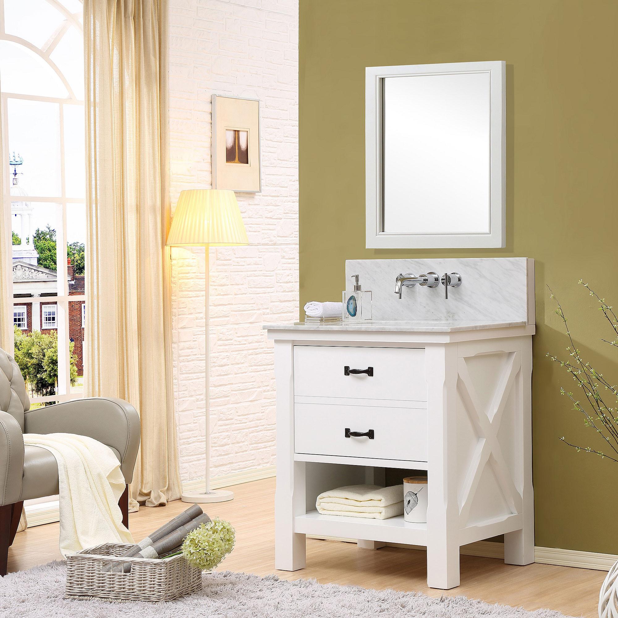 "Direct Vanity Sink 32S1-WWC-W Xtraordinary Spa Premium 32"" White Vanity With Carrera White Marble"