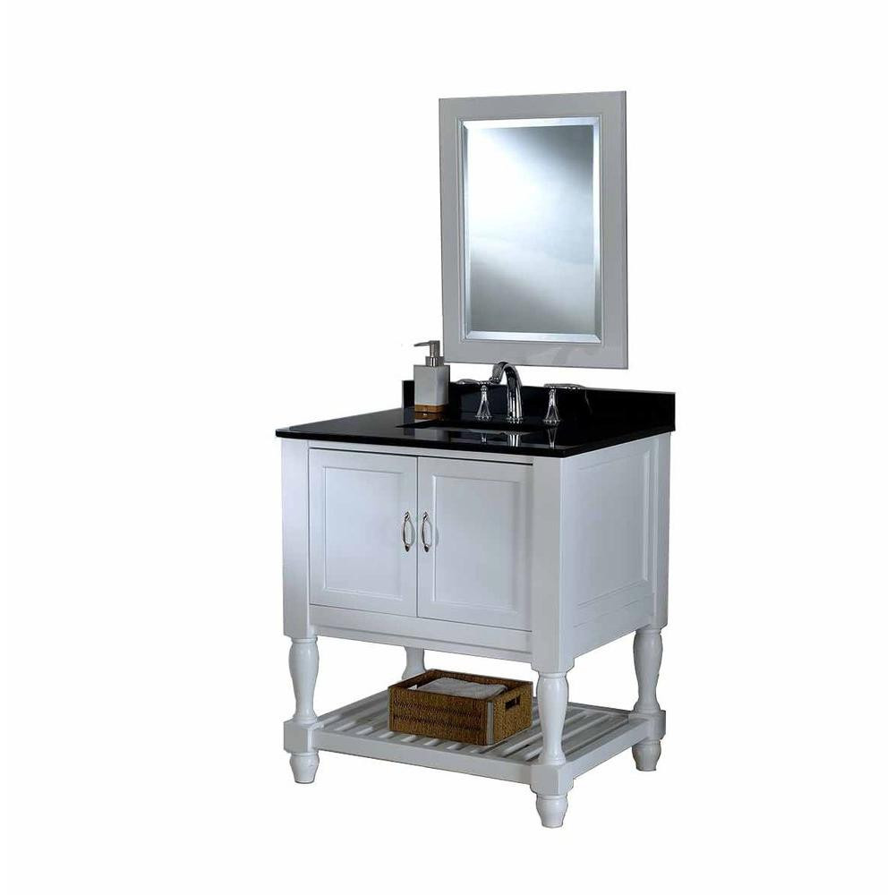 "Direct Vanity Sink 32S10-WBK-M Mission Turnleg Spa 32"" White Vanity With Black Top And Mirror"