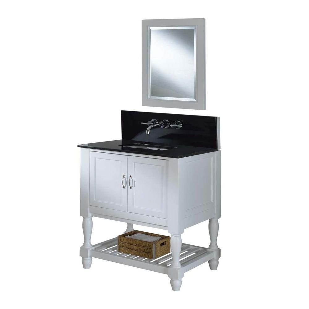 "Direct Vanity Sink 32S10-WBK-WW-M Mission Turnleg Spa Premium 32"" Vanity With Granite Top And Mirror"