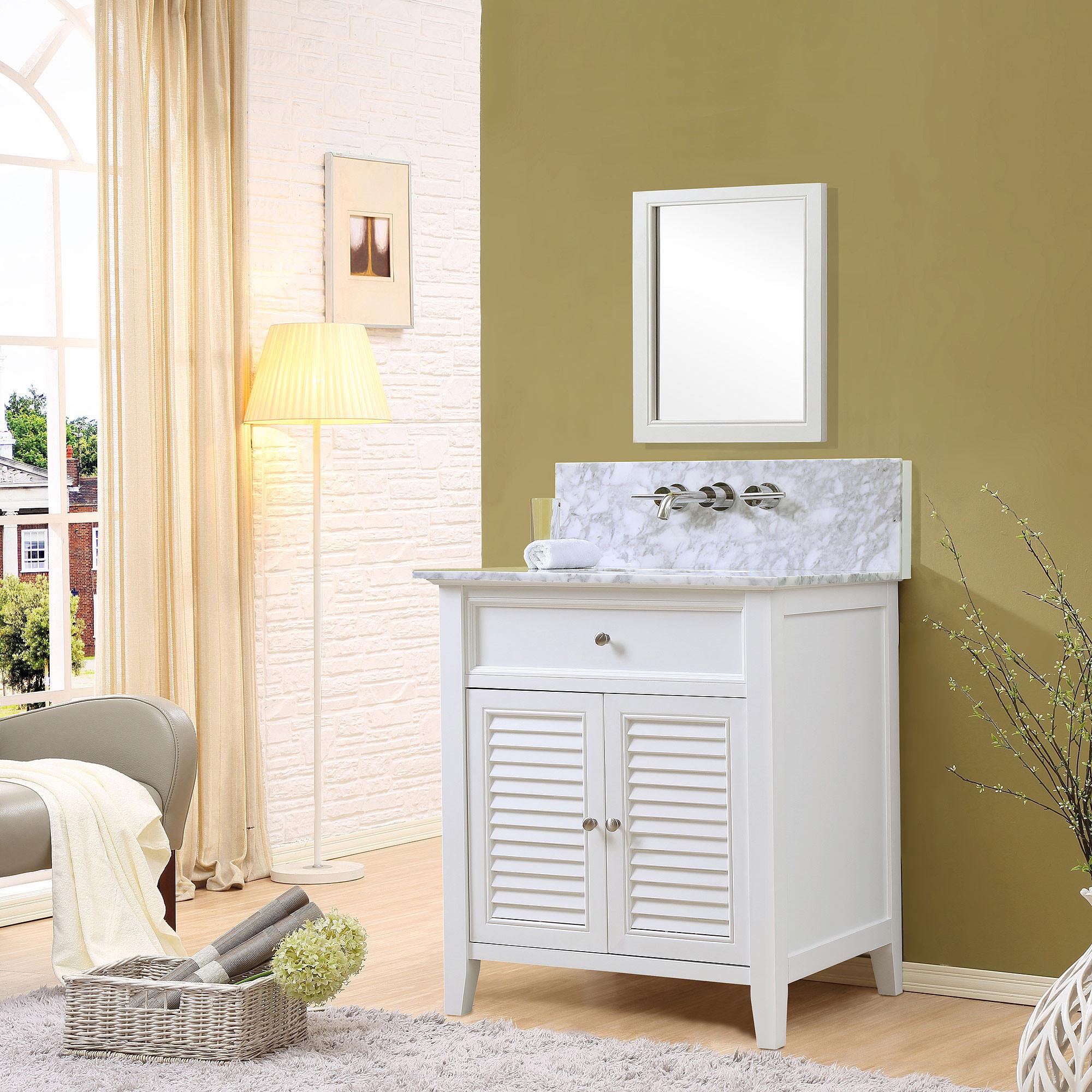 "Direct Vanity Sink 32S12-WWC-W Shutter Premium 32 "" White Vanity With Carrara White Marble Top"