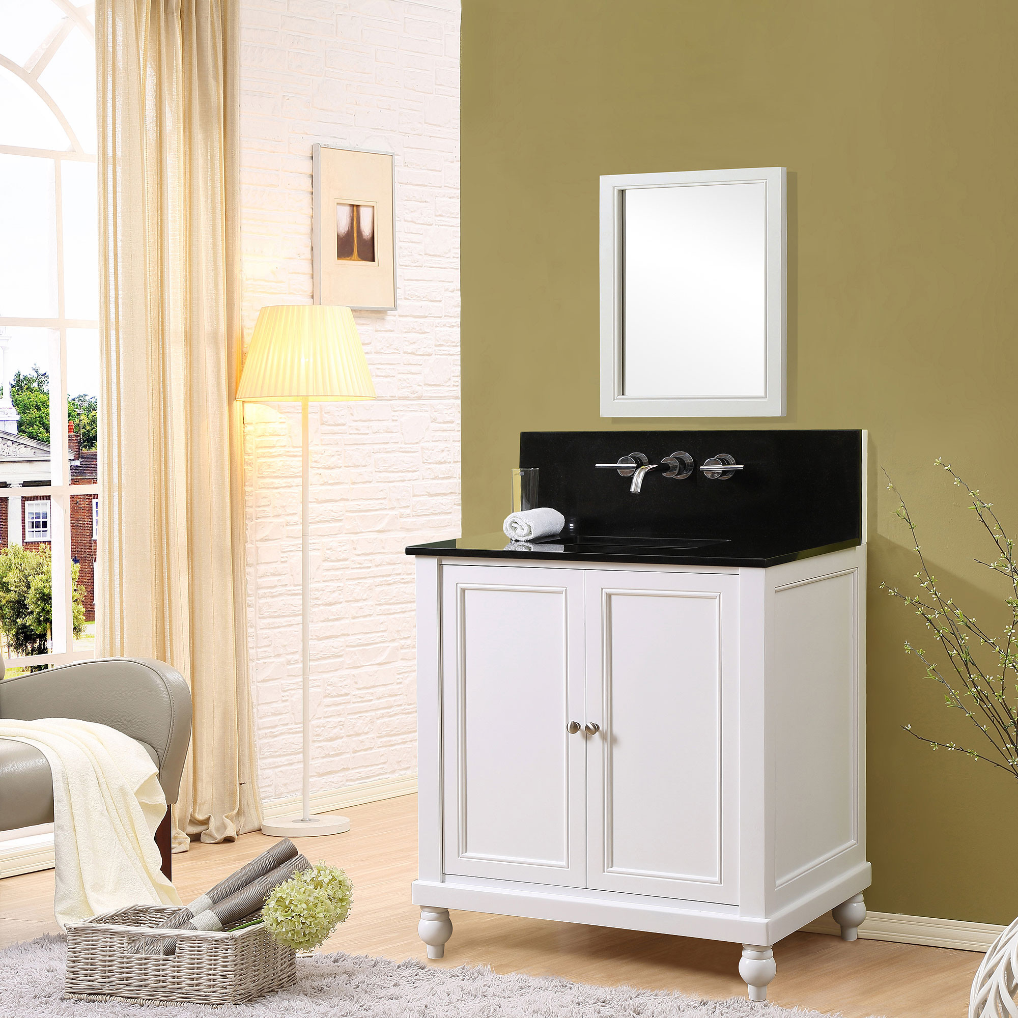 "Direct Vanity Sink 32S12-WW Shutter 32"" White Vanity With Carrara White Marble Top"