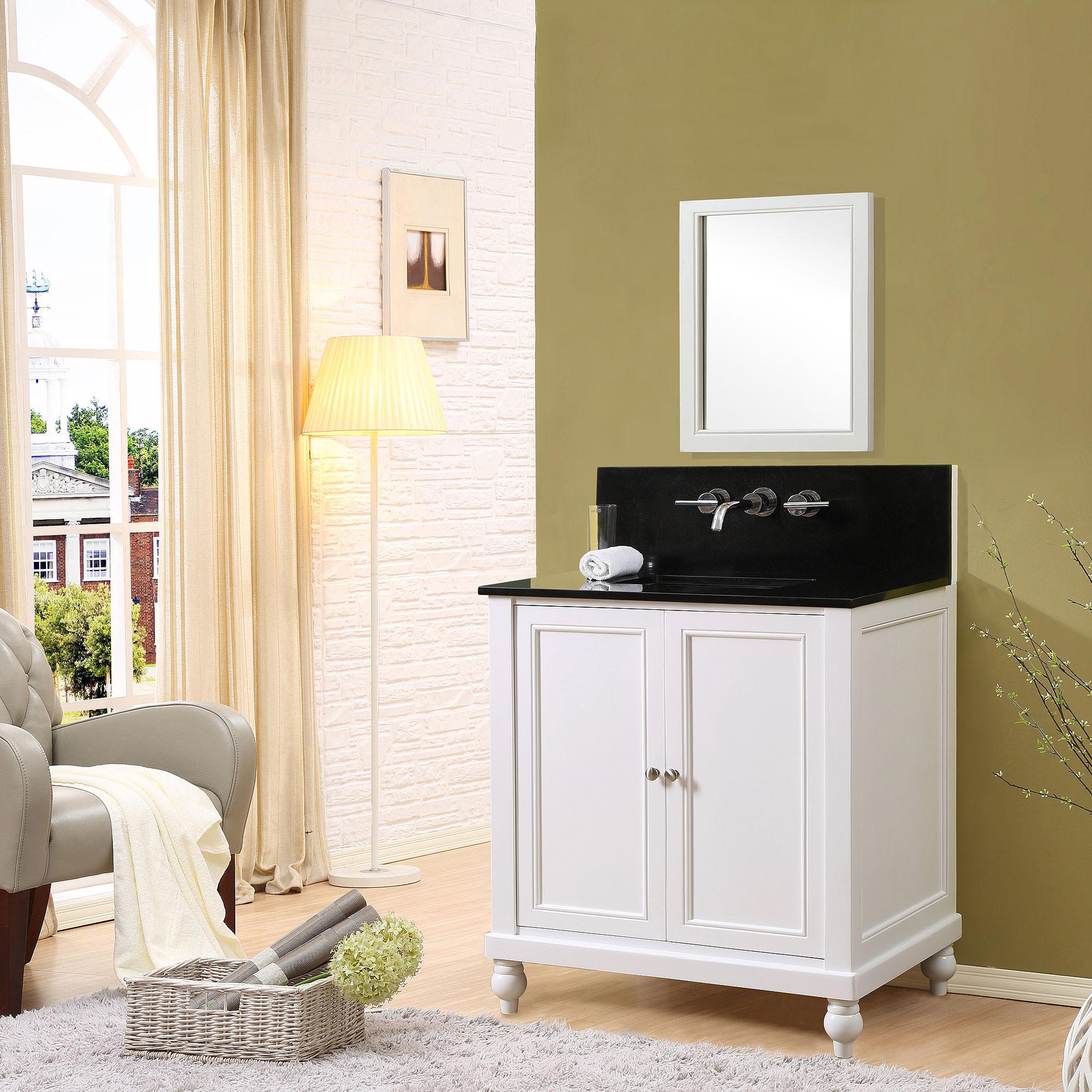 "Direct Vanity Sink 32S9-WBK-W Classic Premium 32"" Pearl White Vanity With Black Granite Top"