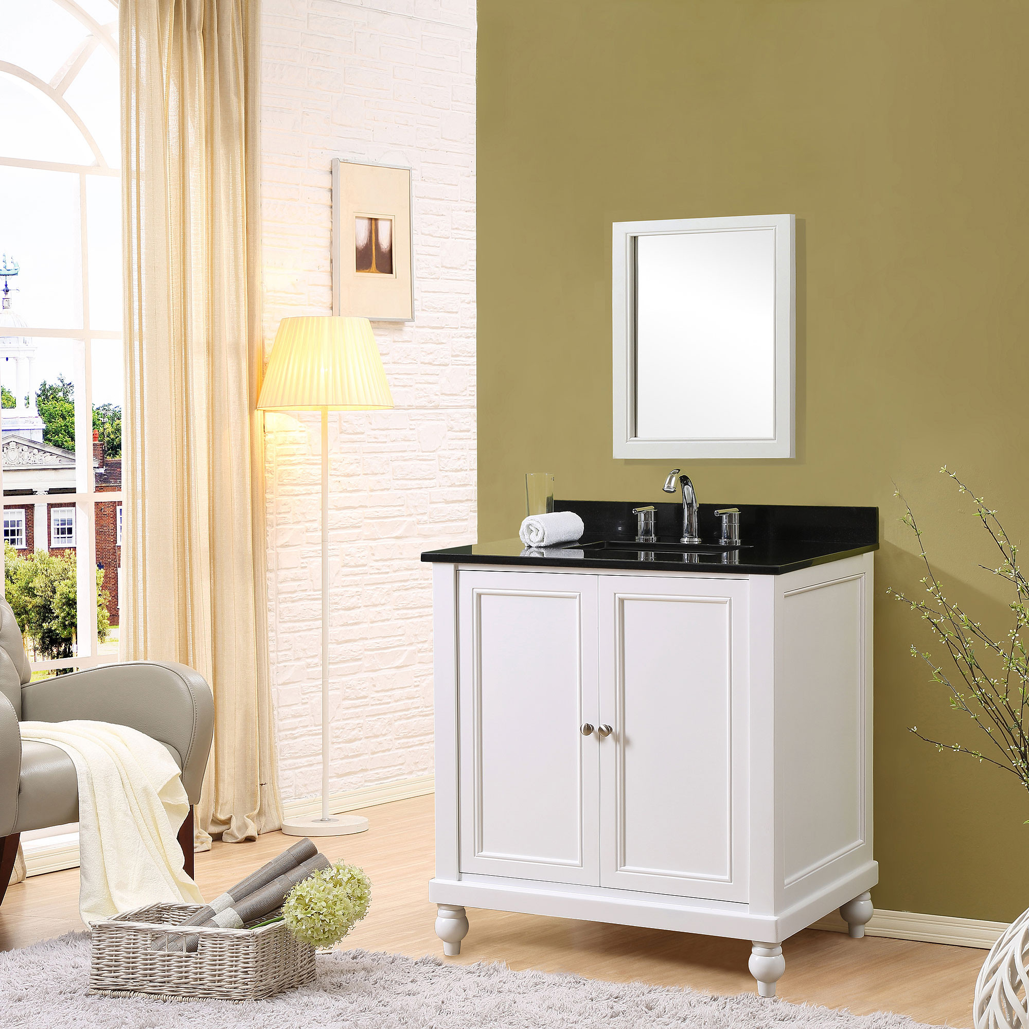 "Direct Vanity Sink 32S9-WB Classic 32"" Pearl White Vanity With Black Granite Top"