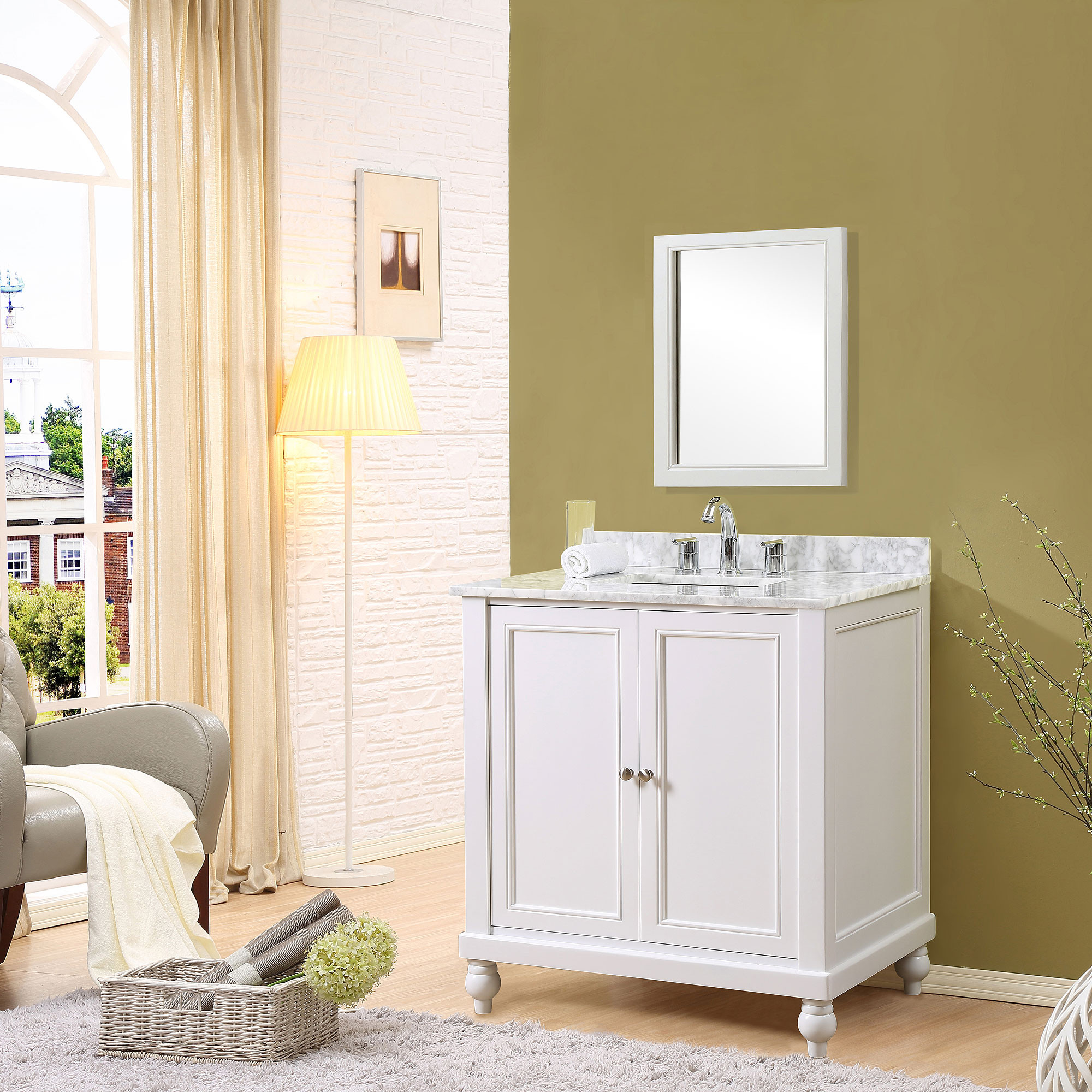 """Direct Vanity Sink 32S9-WW Classic 32"""" Pearl White Vanity With White Carrara Marble Top"""