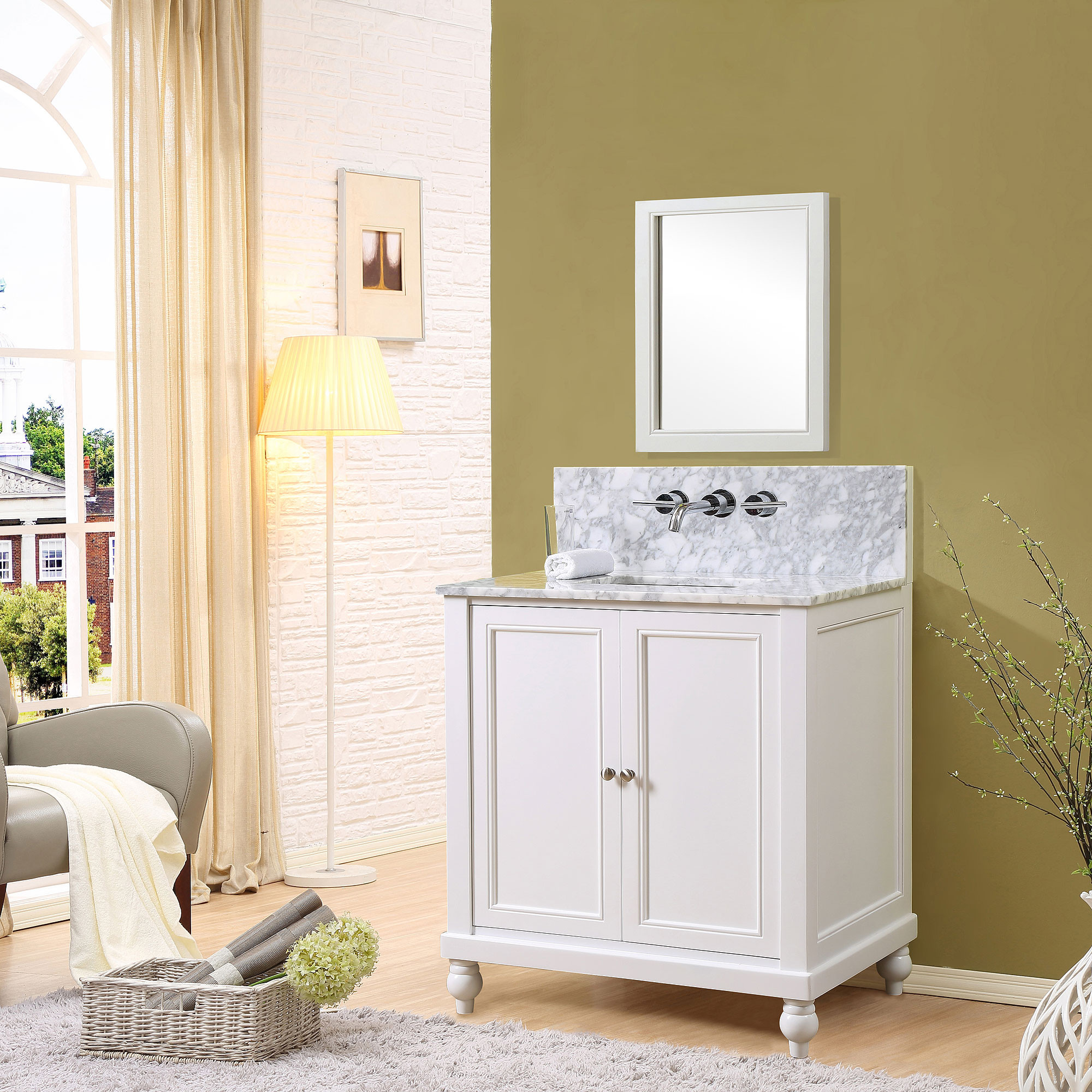 """Direct Vanity Sink 32S9-WWC-W Classic Premium 32"""" Pearl White Vanity With White Carrara Marble Top"""