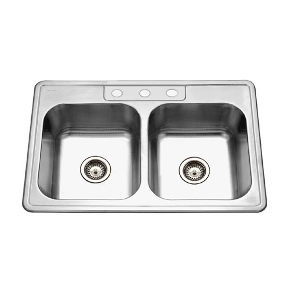 Houzer 3322-8BS3-1 Glowtone Series Topmount Stainless Steel 3-hole 50/50 Double Bowl Kitchen Sink