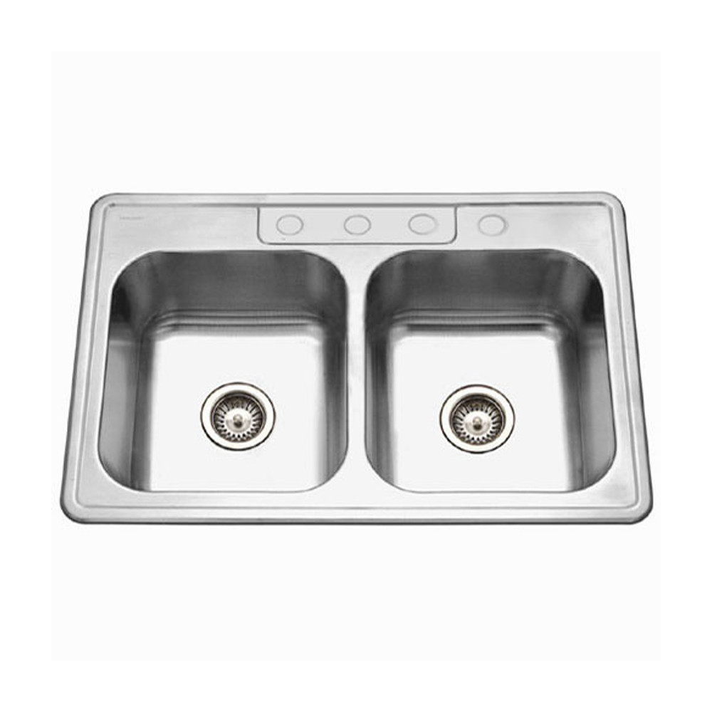 Houzer 3322-9BS4-1 Glowtone Series Topmount Stainless Steel 4-hole 50/50 Double Bowl Kitchen Sink