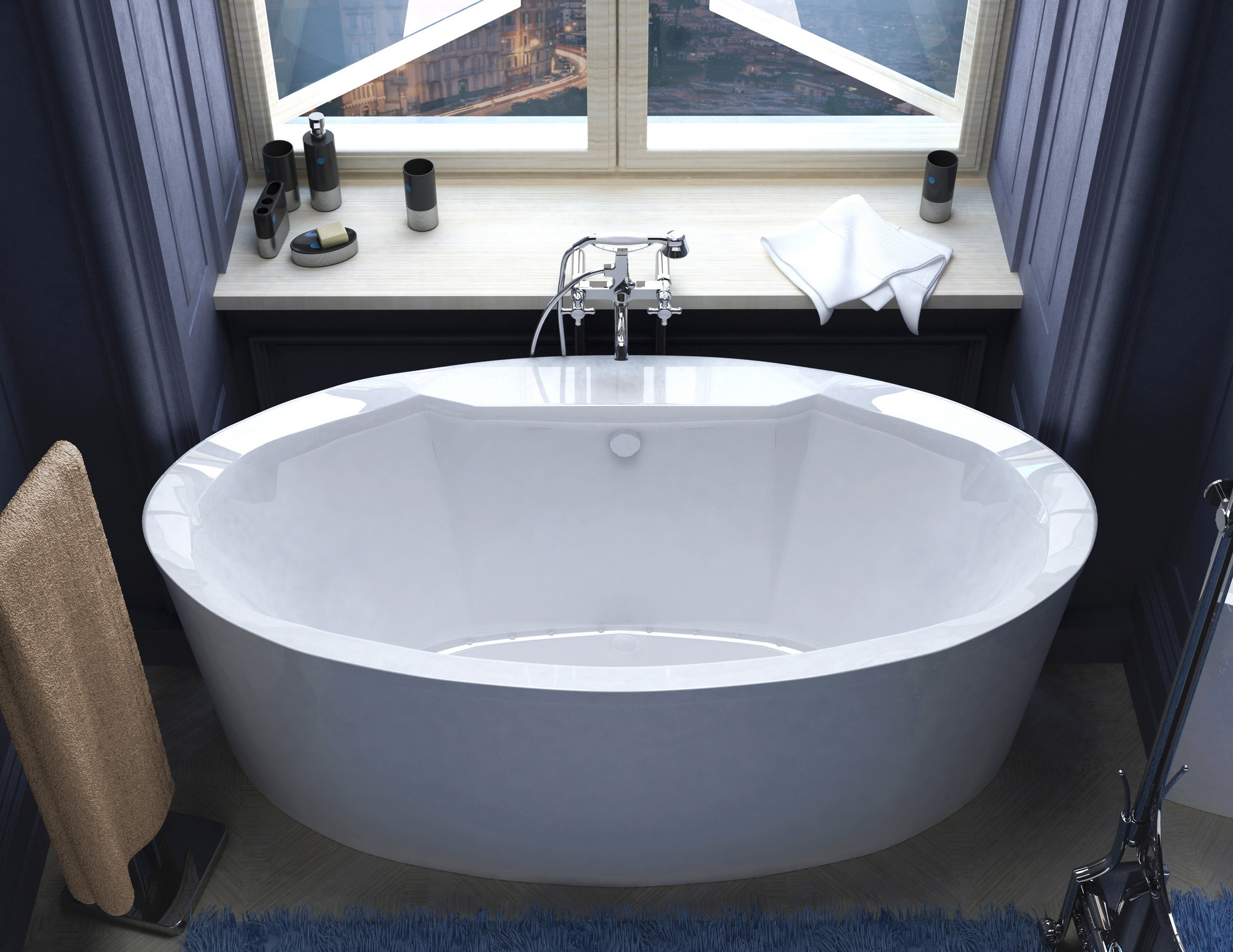 MediTub 3468SA Suisse Oval Freestanding Air Jet Bathtub With Right Blower