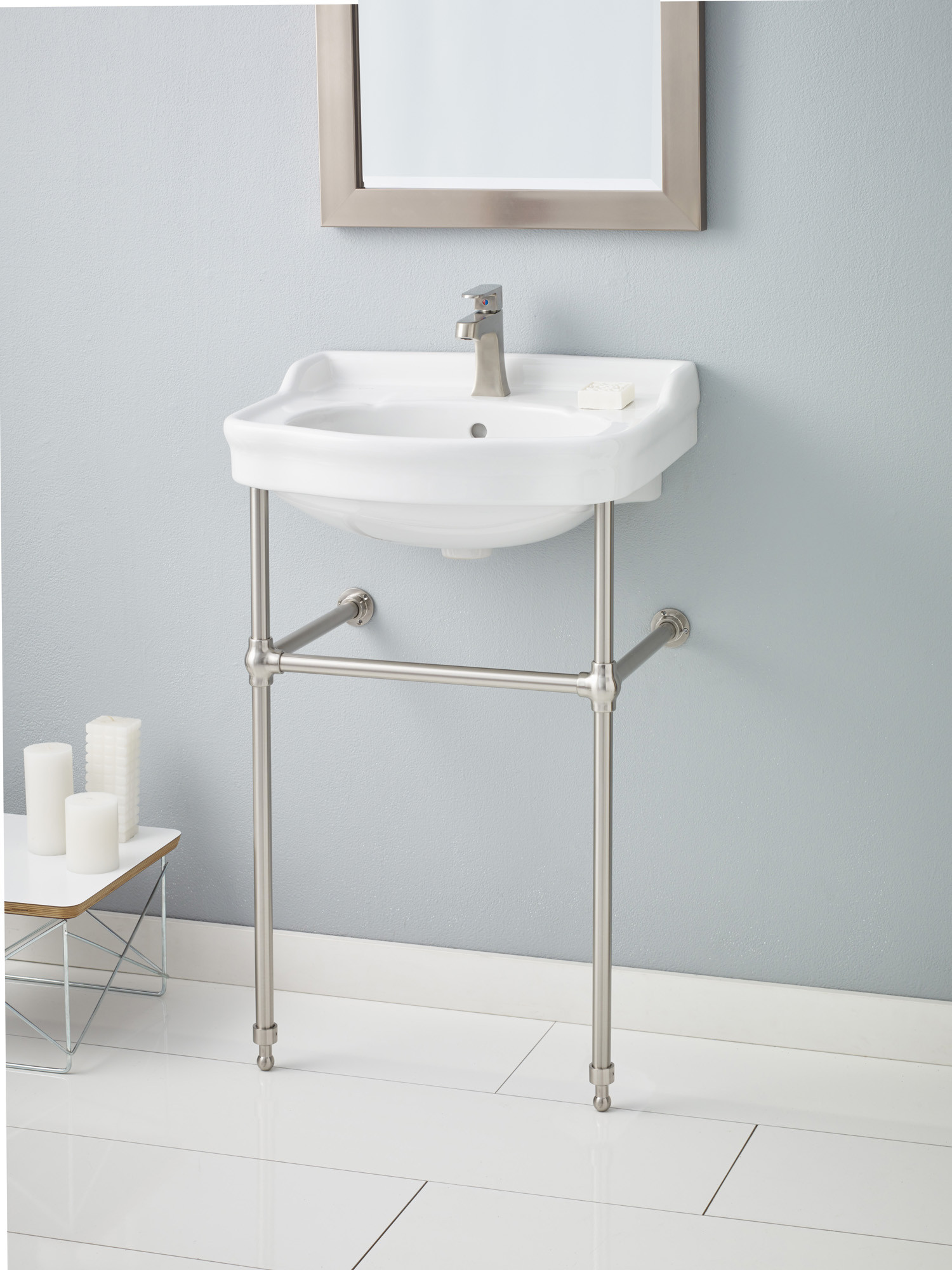 Cheviot 350-22-WH-4-575-BN Antique Brushed Nickel Console Stand Lavatory Sink in White