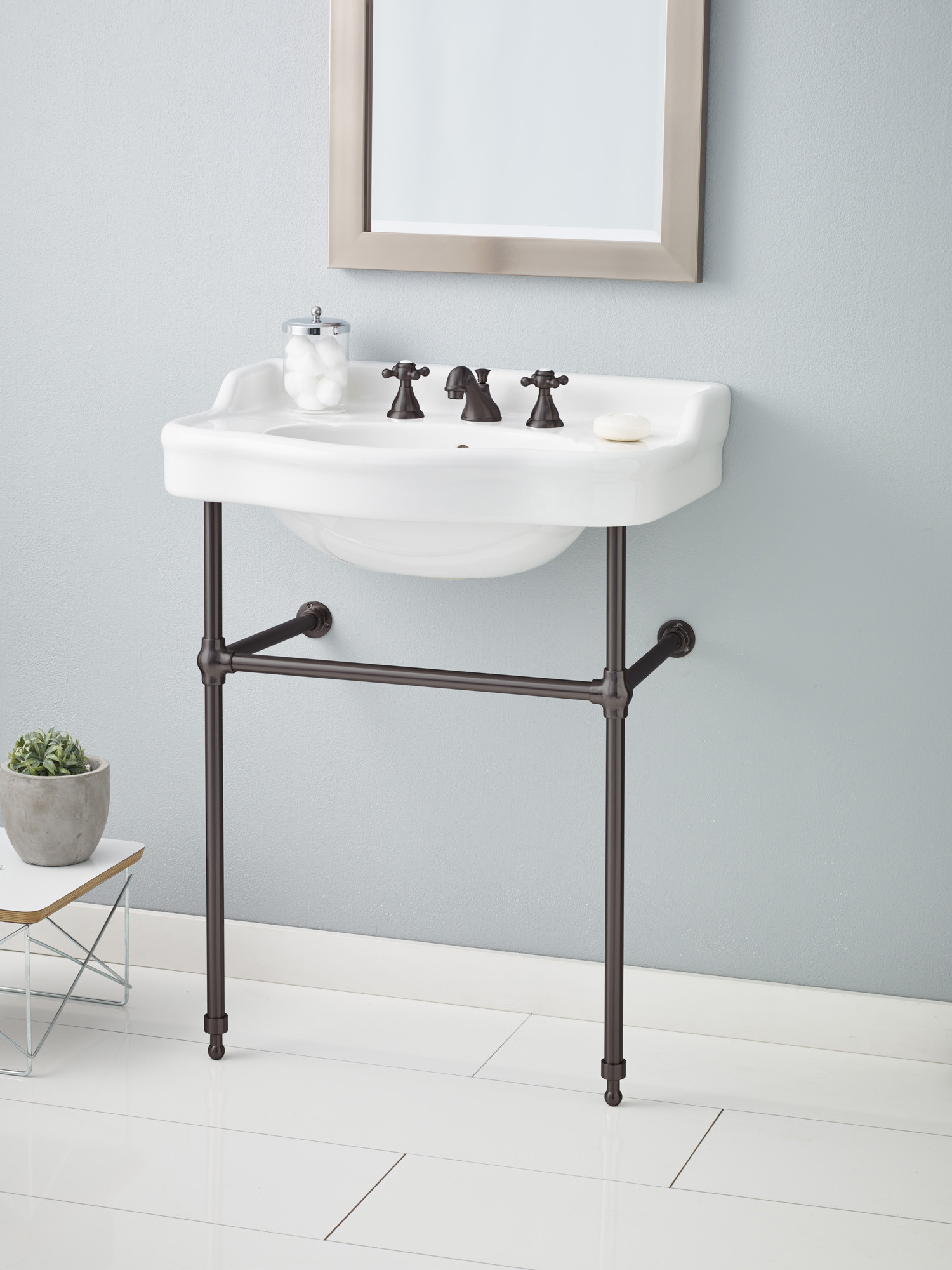 Cheviot 350-28-WH-8-575-AB Antique Lavatory Sink in White with Antique Bronze Console