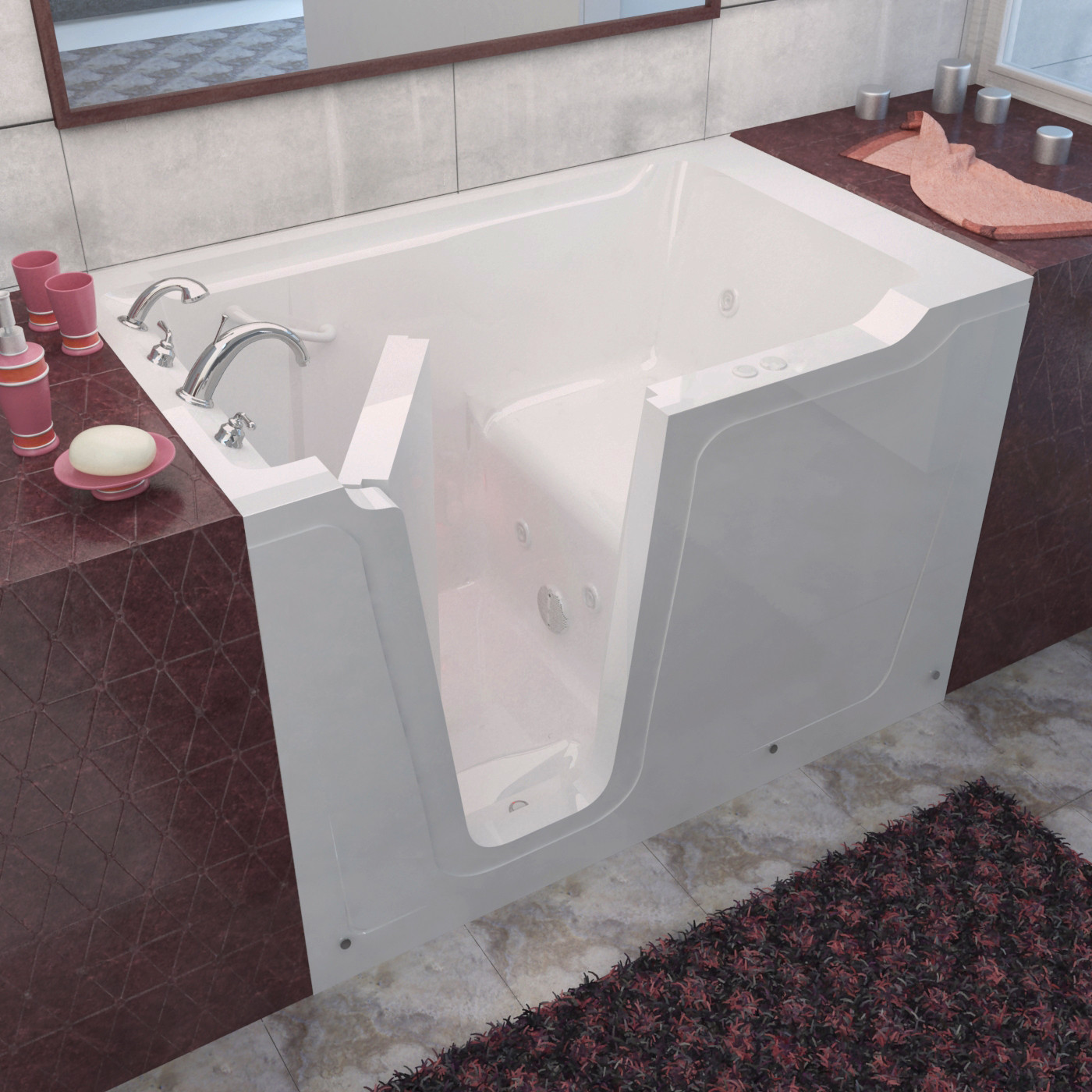 MediTub 3660LWH Walk-In 36 x 60 Left Drain White Whirlpool Jetted Bathtub