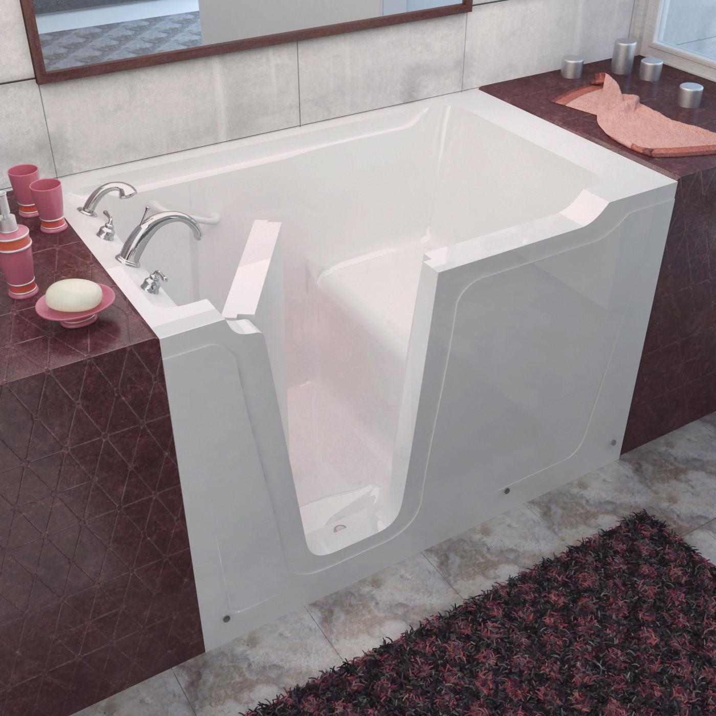 MediTub 3660LWS Walk-In 36 x 60 Left Drain White Soaking Bathtub