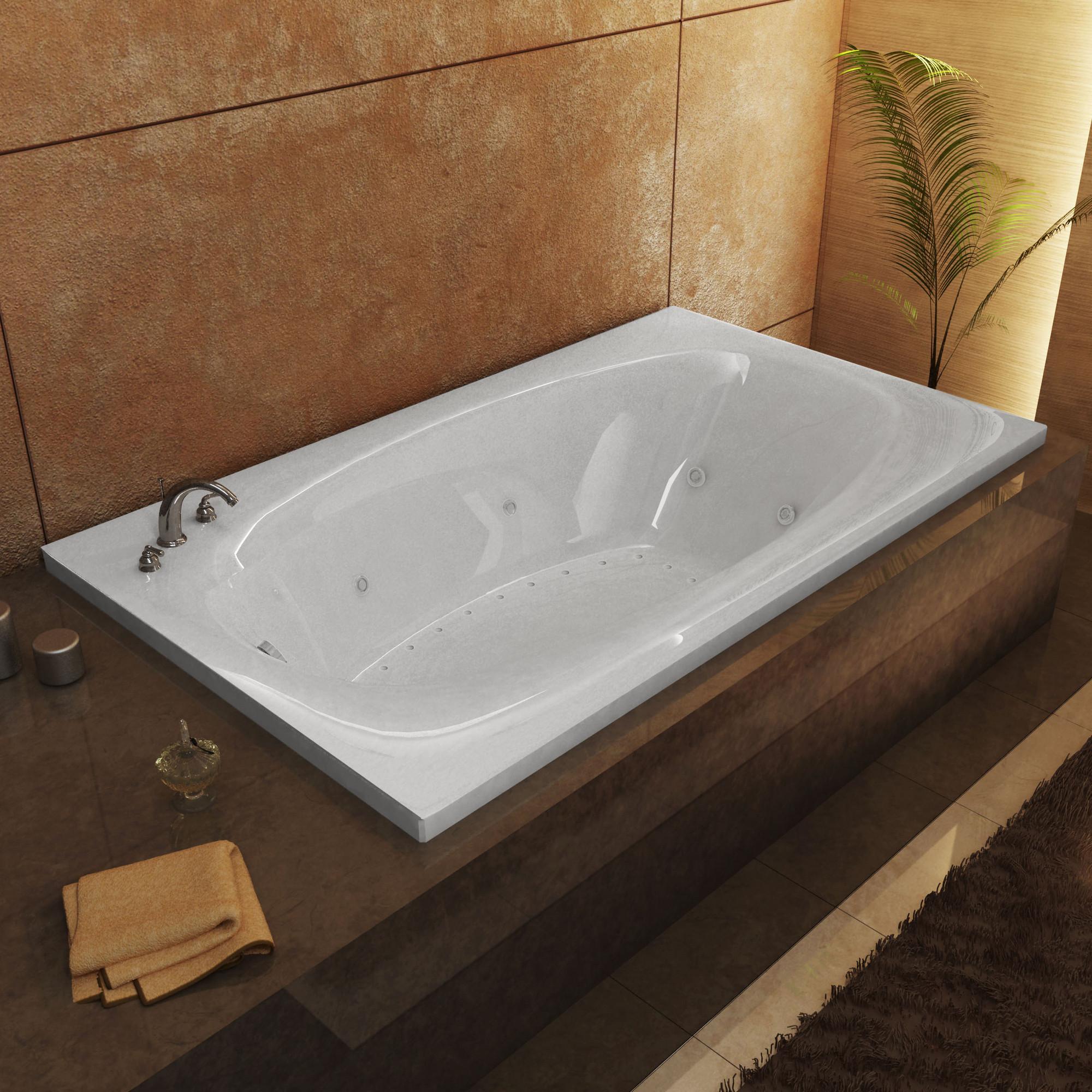 MediTub 3666PDL Polaris Rectangular Air & Whirlpool Bathtub With Left Drain
