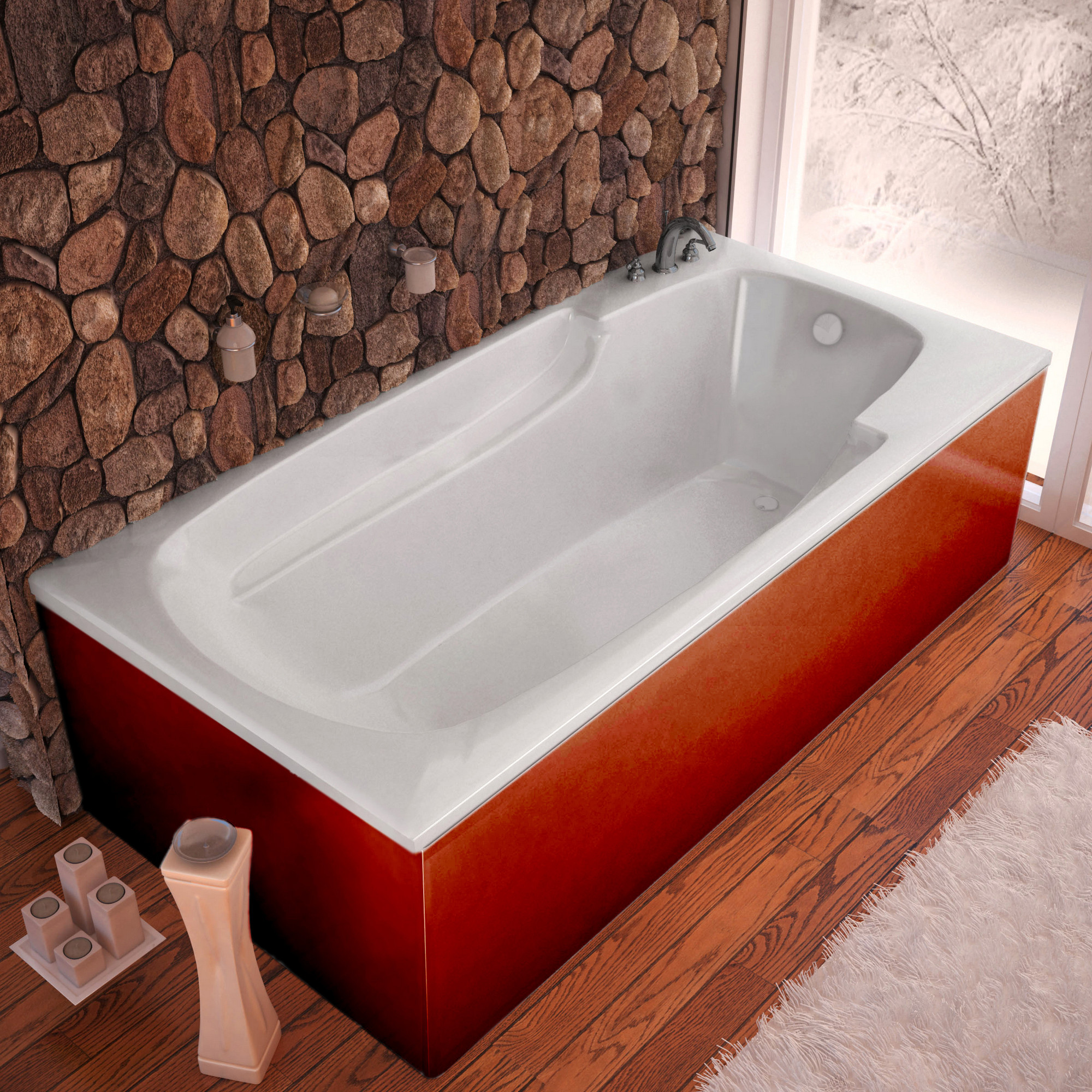 MediTub 3672E Atlantis Eros Drop In Soaking Bathtub With Reversible Drain