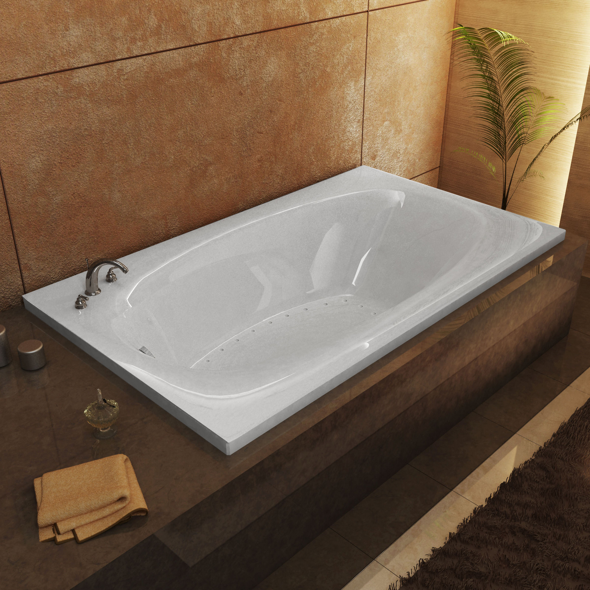 MediTub 3672PAL Atlanti Polaris Rectangular Air Jet Bathtub With Left Drain