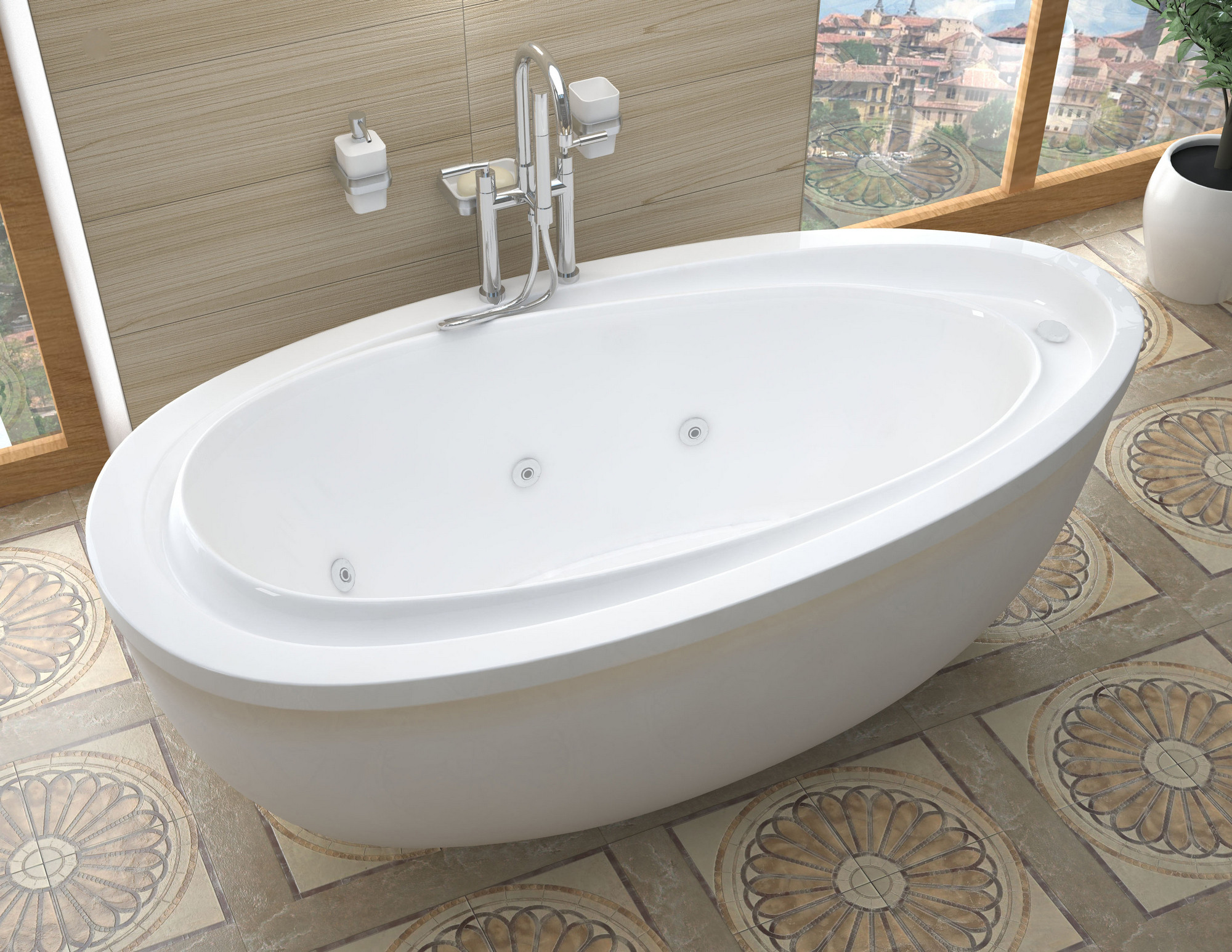 MediTub 3871BW Atlantis Breeze Oval Whirlpool Bathtub With Reversible Drain