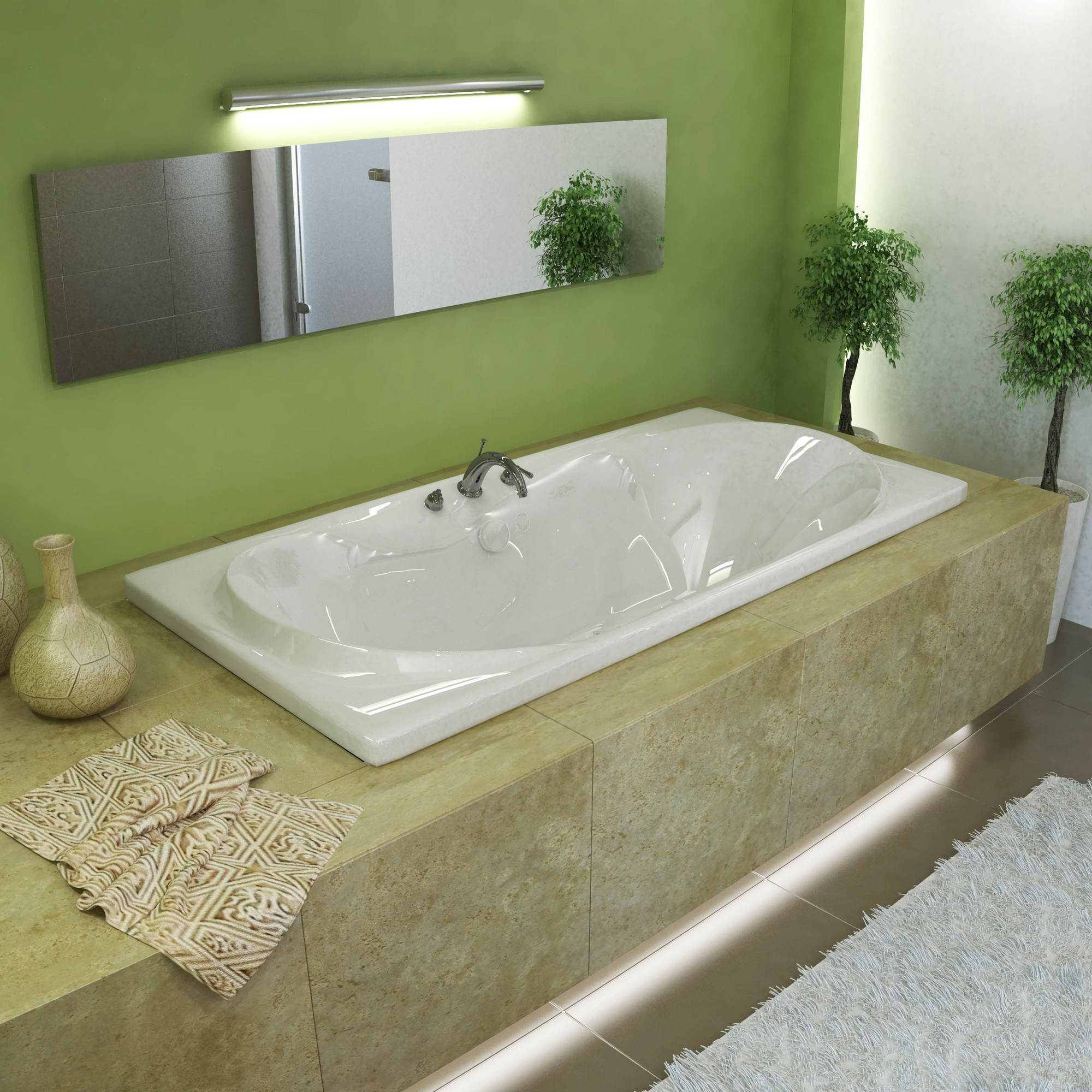 MediTub 4272WAL Whisper Rectangular Air Jetted Bathtub With Left Blower