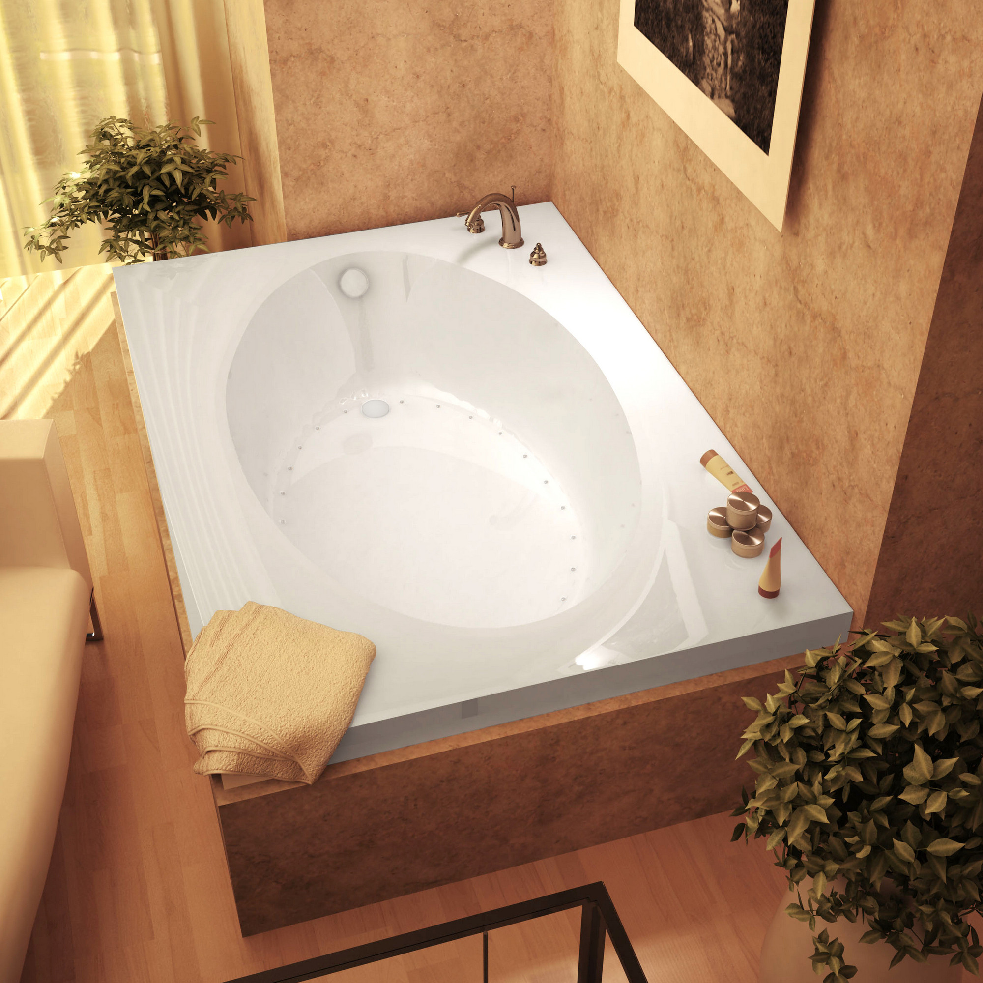 MediTub 4384VAR Atlantis Vogue Drop In Air Jetted Bathtub With Right Drain