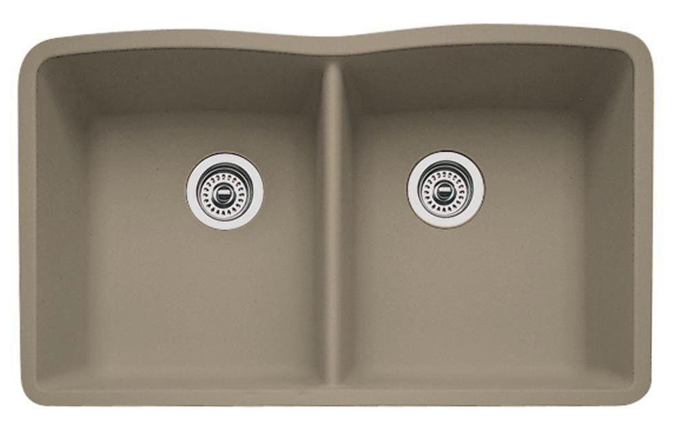 Blanco 441286 Diamond Equal Double Bowl SILGRANIT Undermount Sink in Truffle