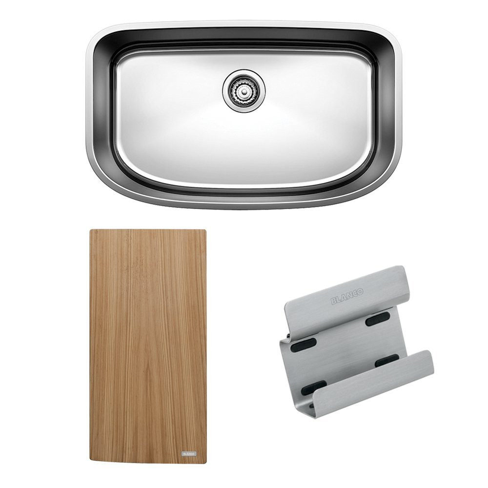 Blanco 441635 One Super Large Single Bowl Kitchen Sink with Preparation Kit