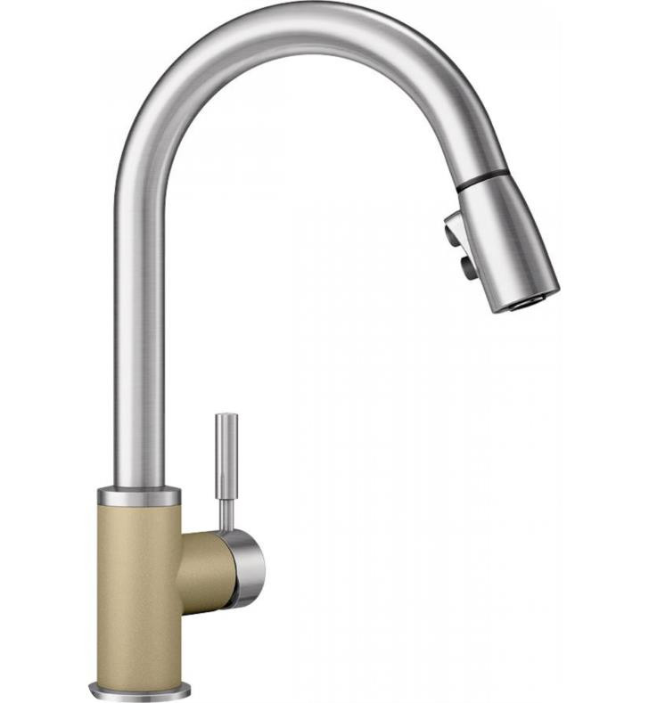 Blanco 442059 Sonoma Kitchen Faucet with Pull Down Spray In Biscotti/Stainless Dual