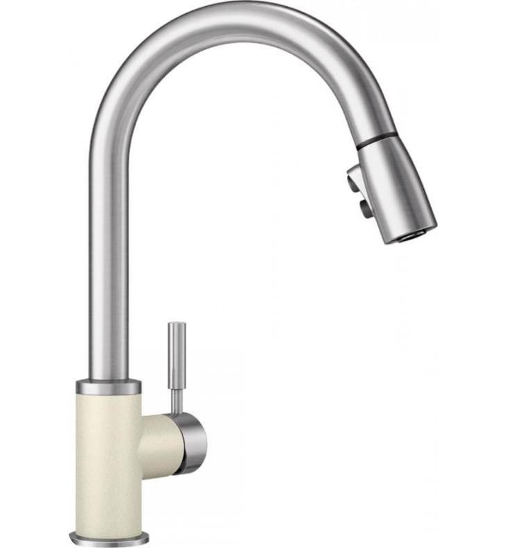 Blanco 442069 Sonoma Single Hole Faucet With Pull Down Spray In Biscuit/Stainless Dual
