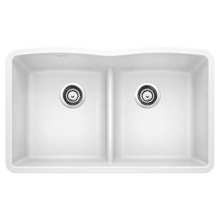 Blanco 442074 Diamond Double Bowl Undermount Silgranit Kitchen Sink In White