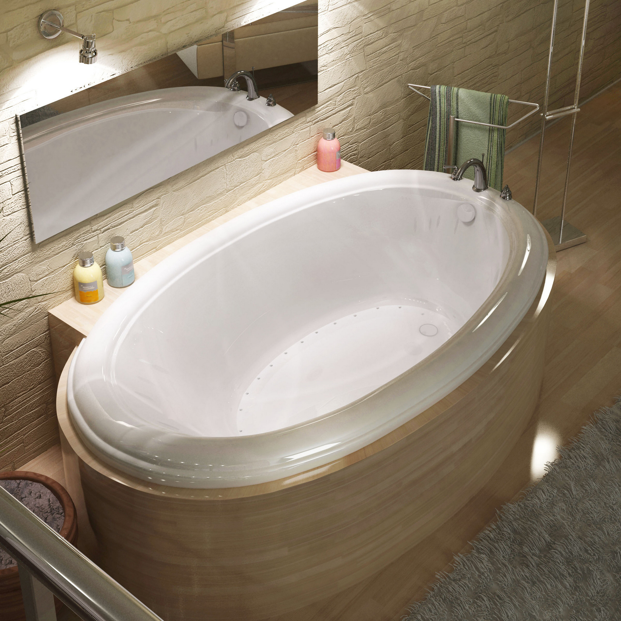 MediTub 4478PCAR Atlantis Petite Oval Air Jetted Bathtub With Right Blower