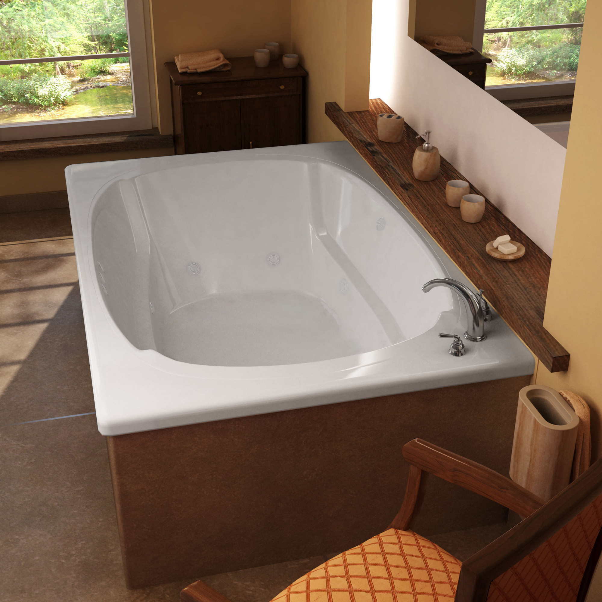 MediTub 4878CWR Atlantis Charleston Rectangular Tub With Right Side Pump