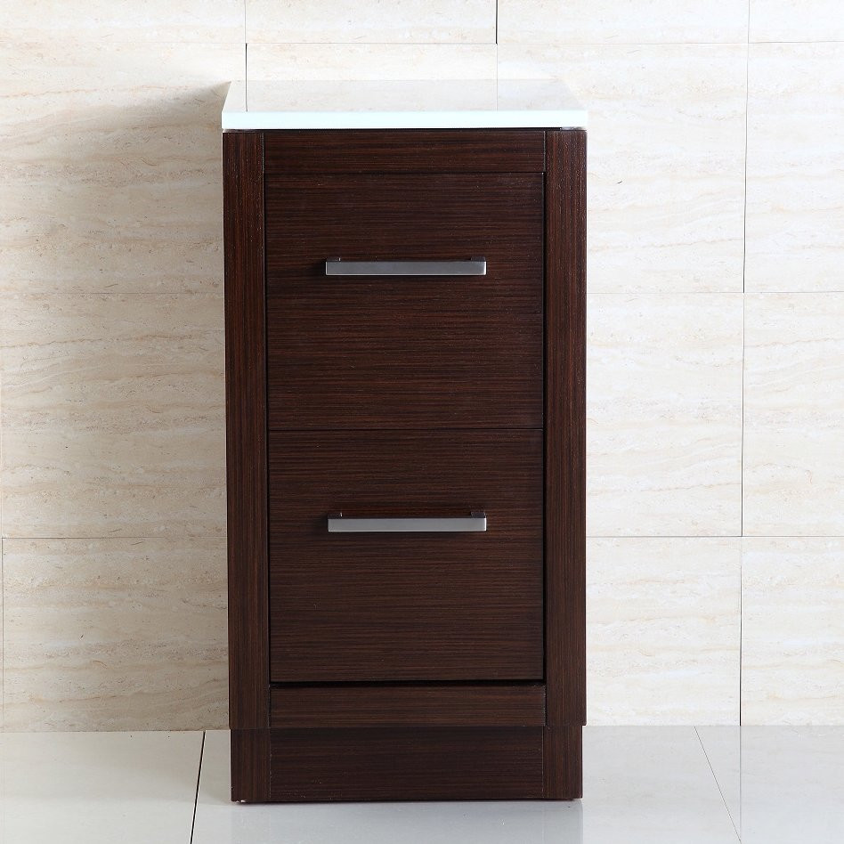Bellaterra Home 500400S Bathroom Side Cabinet In Wenge With Marble Top