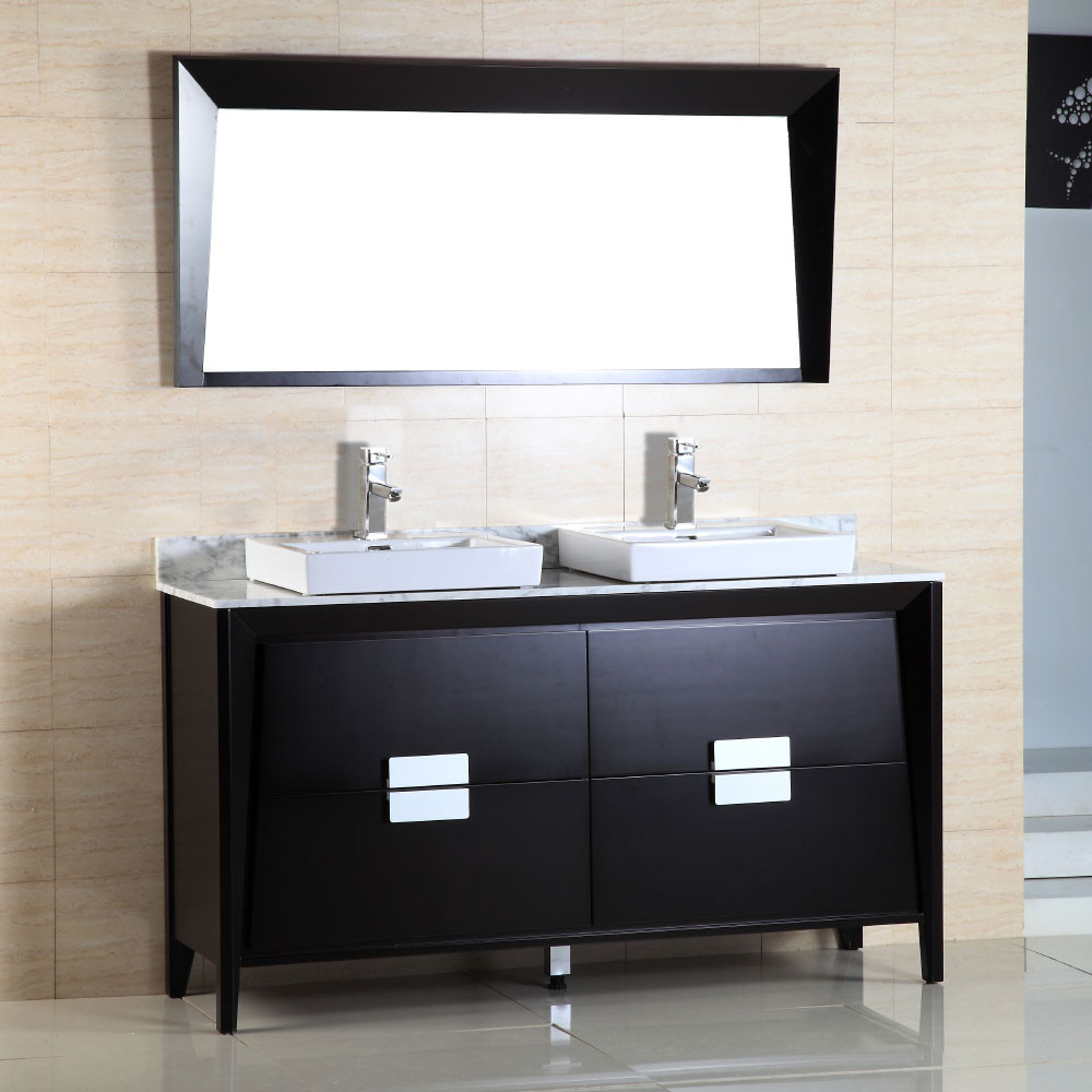 Bellaterra Home 500410-ES-WH-60D 60-Inch Double Sink Vanity With Marble Top