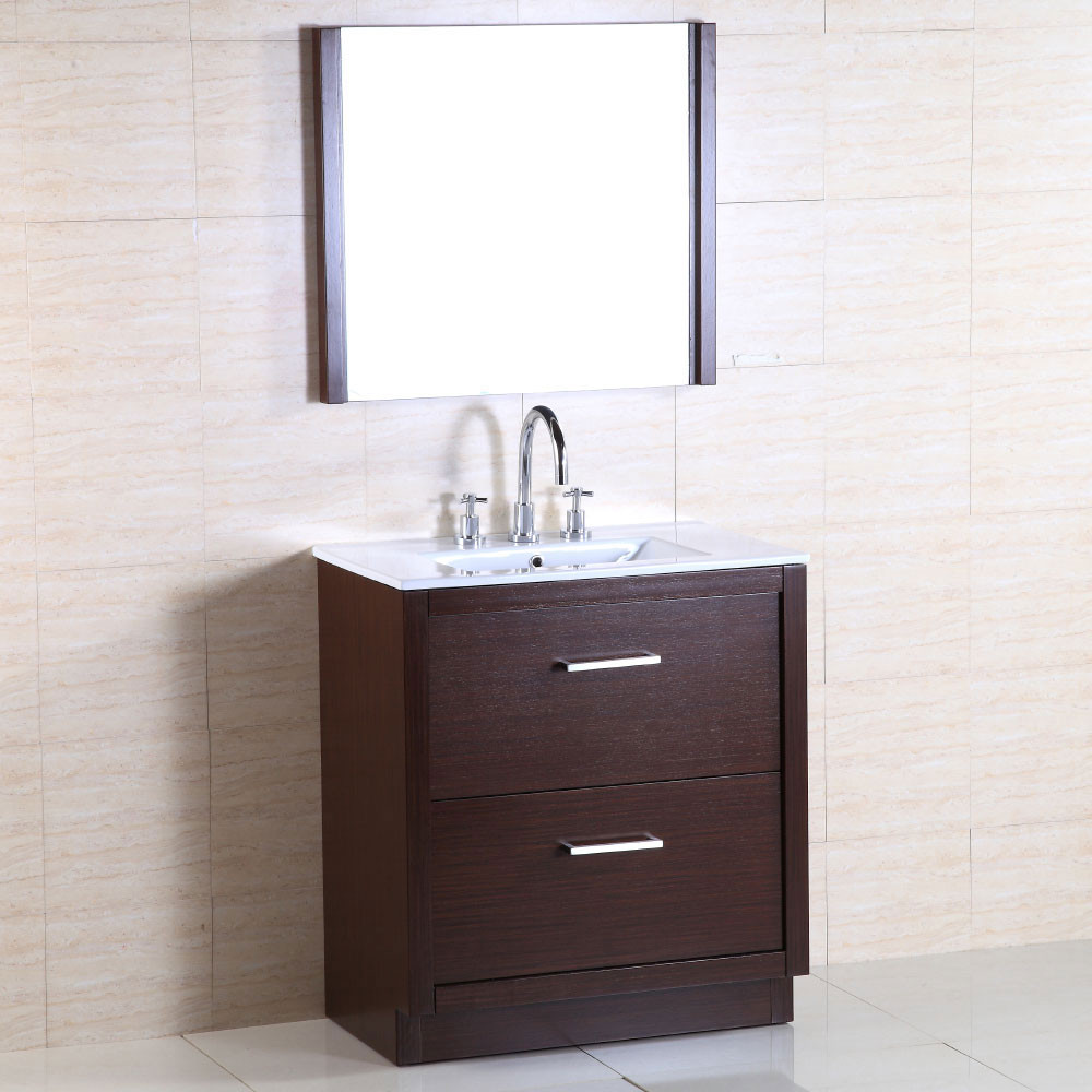 Bellaterra Home 502001A-30 30-Inch Single Sink Vanity With Ceramic Top