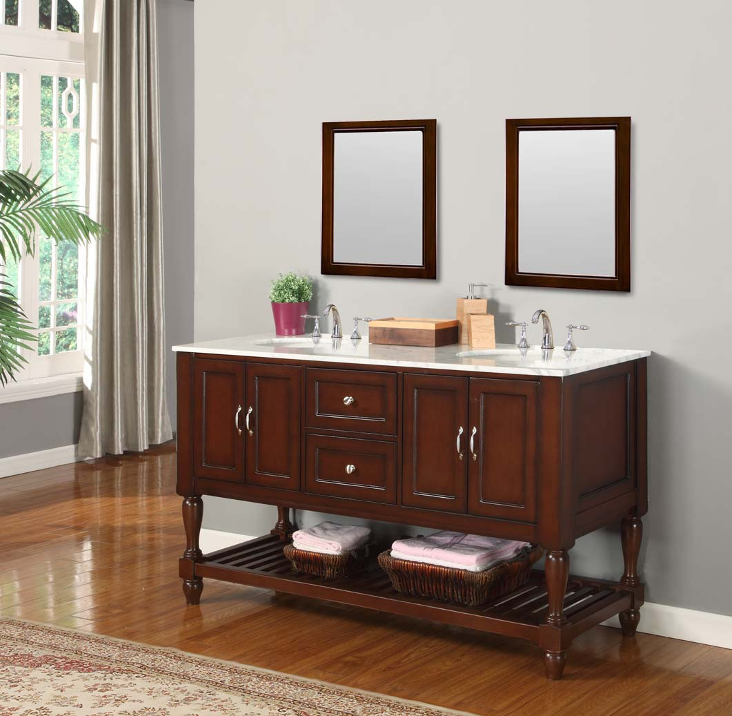 Espresso Mission Turnleg Double Vanity Sink Cabinet With Carrera White Marble