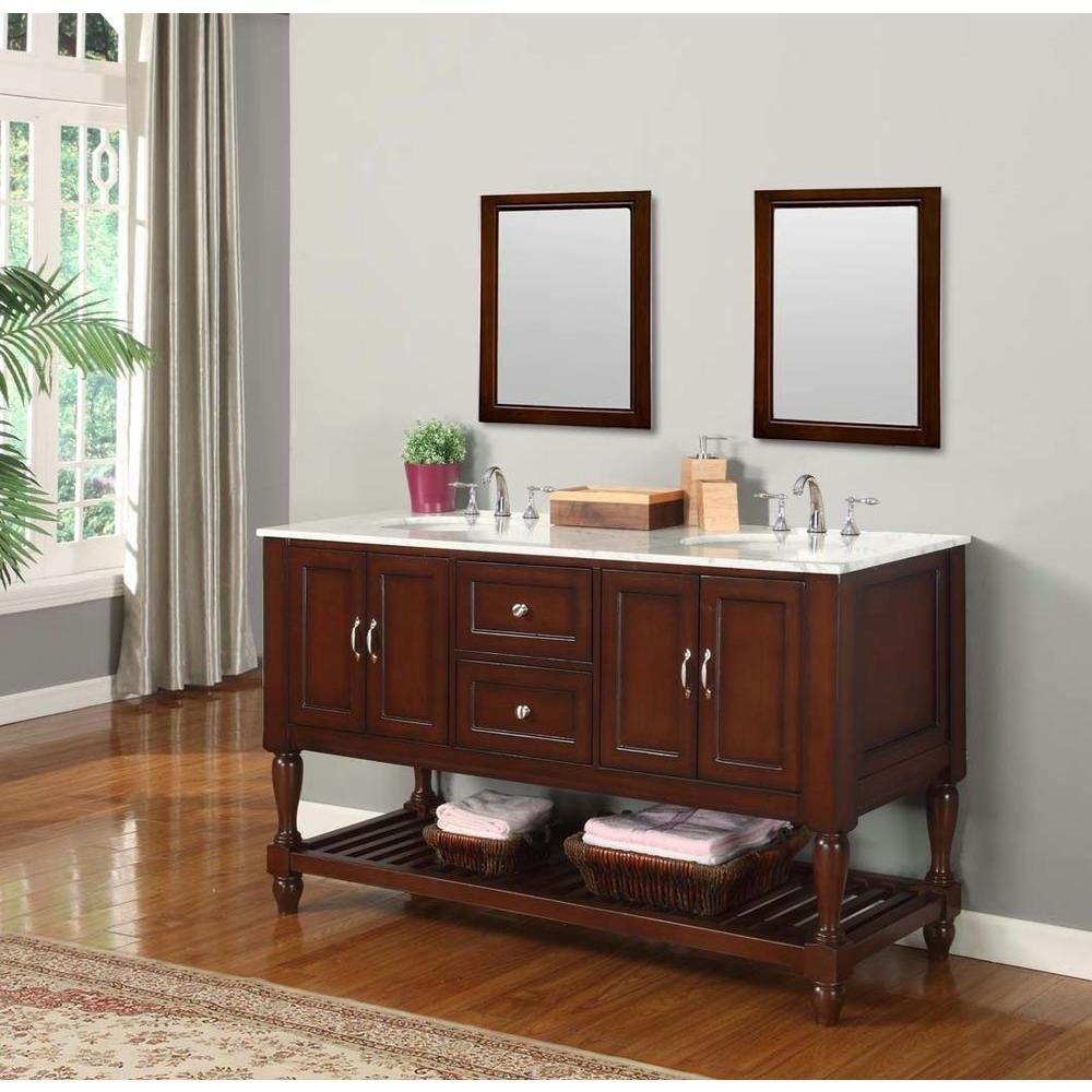 """Direct Vanity Sink 5060D10-ES Mission Turnleg 60"""" Dark Brown Vanity"""