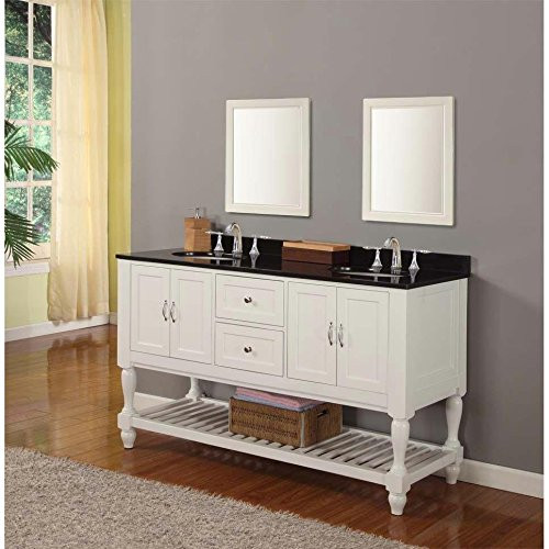 "Direct Vanity Sink 5060D10-W Mission Turnleg 60"" Double Vanity In White"