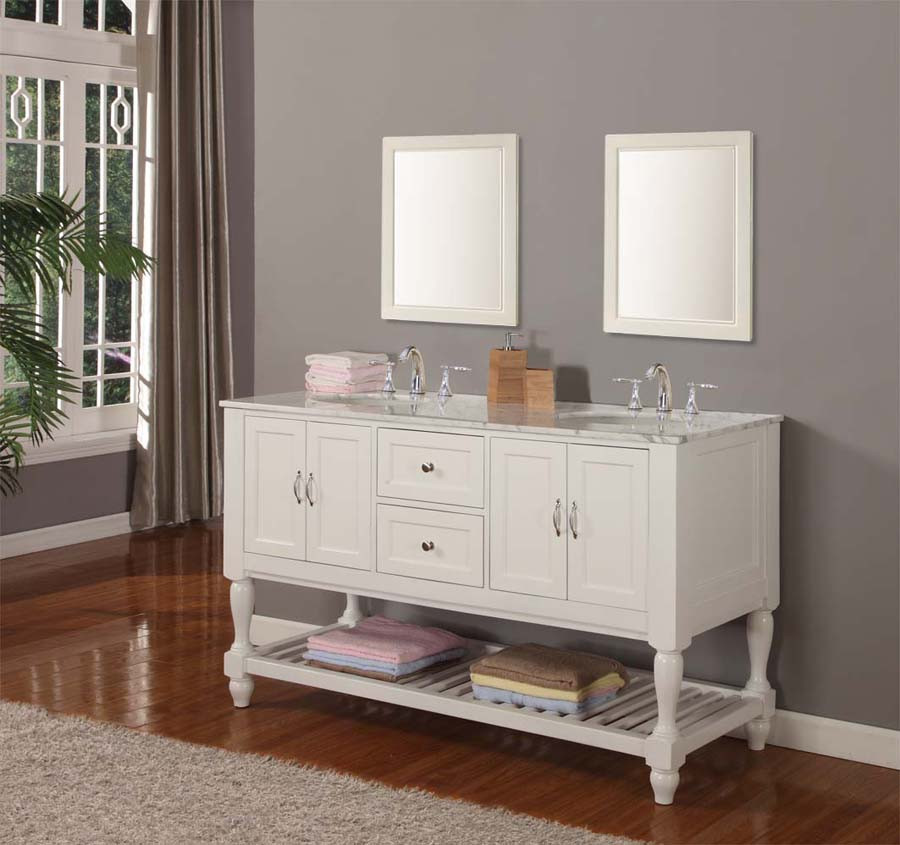 """Direct Vanity Sink 5060D10-WWC Mission Turnleg 60"""" White Double Vanity With Carrara White Marble Top"""