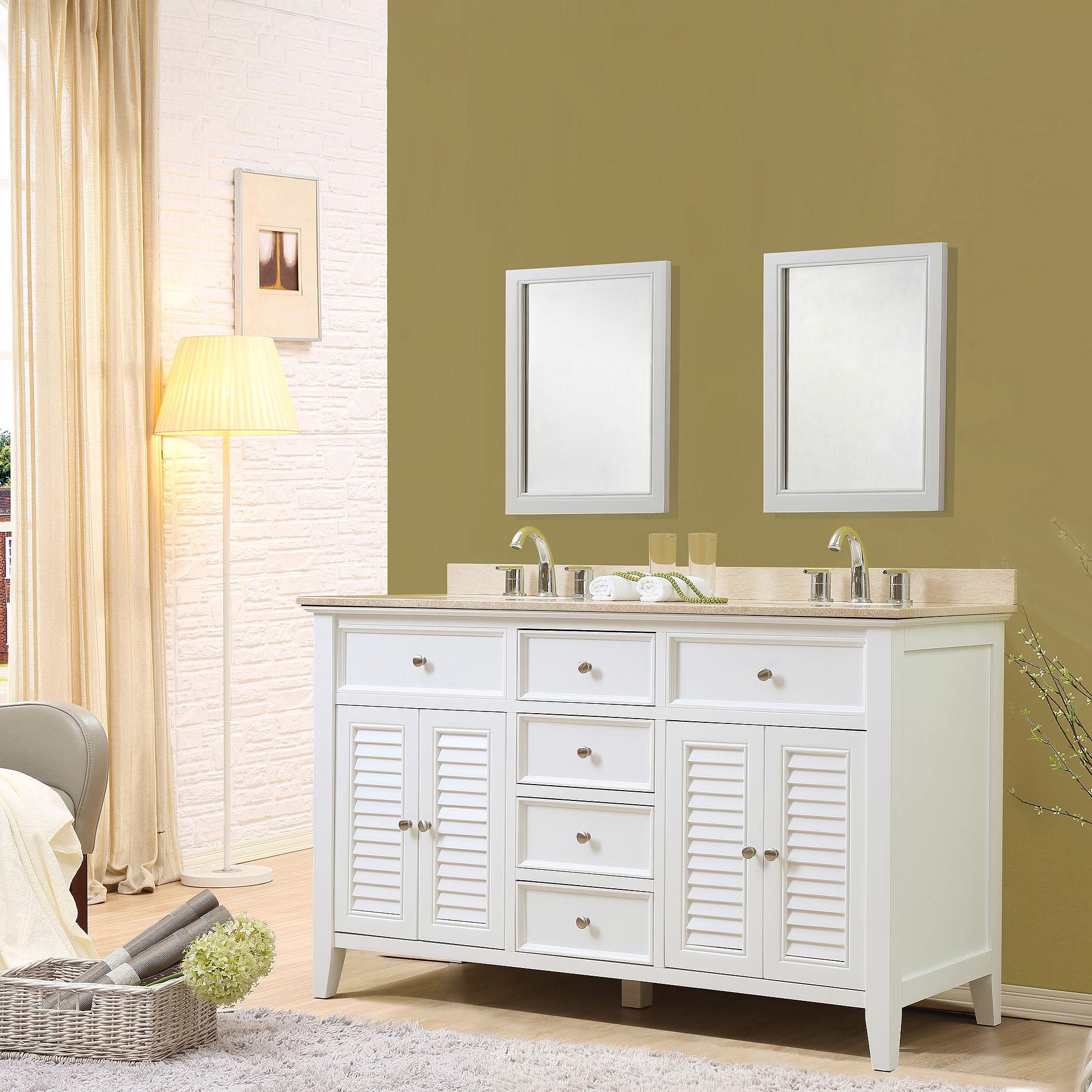 "Direct Vanity Sink 5060D12-W Shutter 60"" White Vanity With Beige Marble Top"