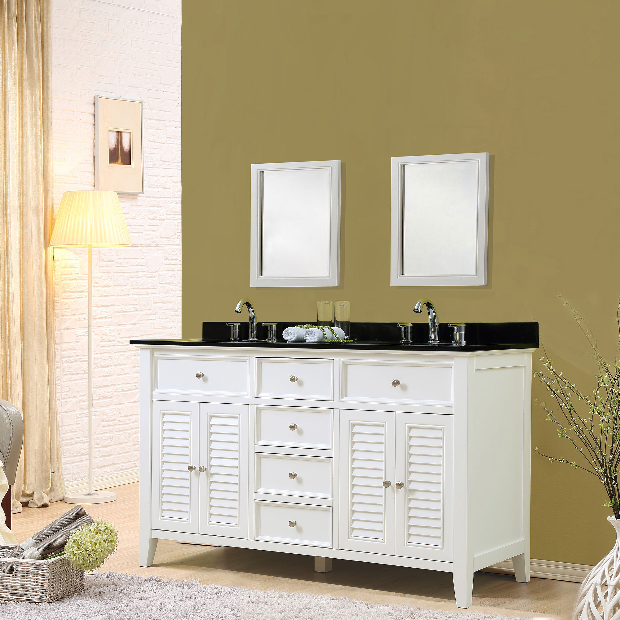 "Direct Vanity Sink 5060D12-WBK Shutter 60"" White Vanity With Black Granite Top"