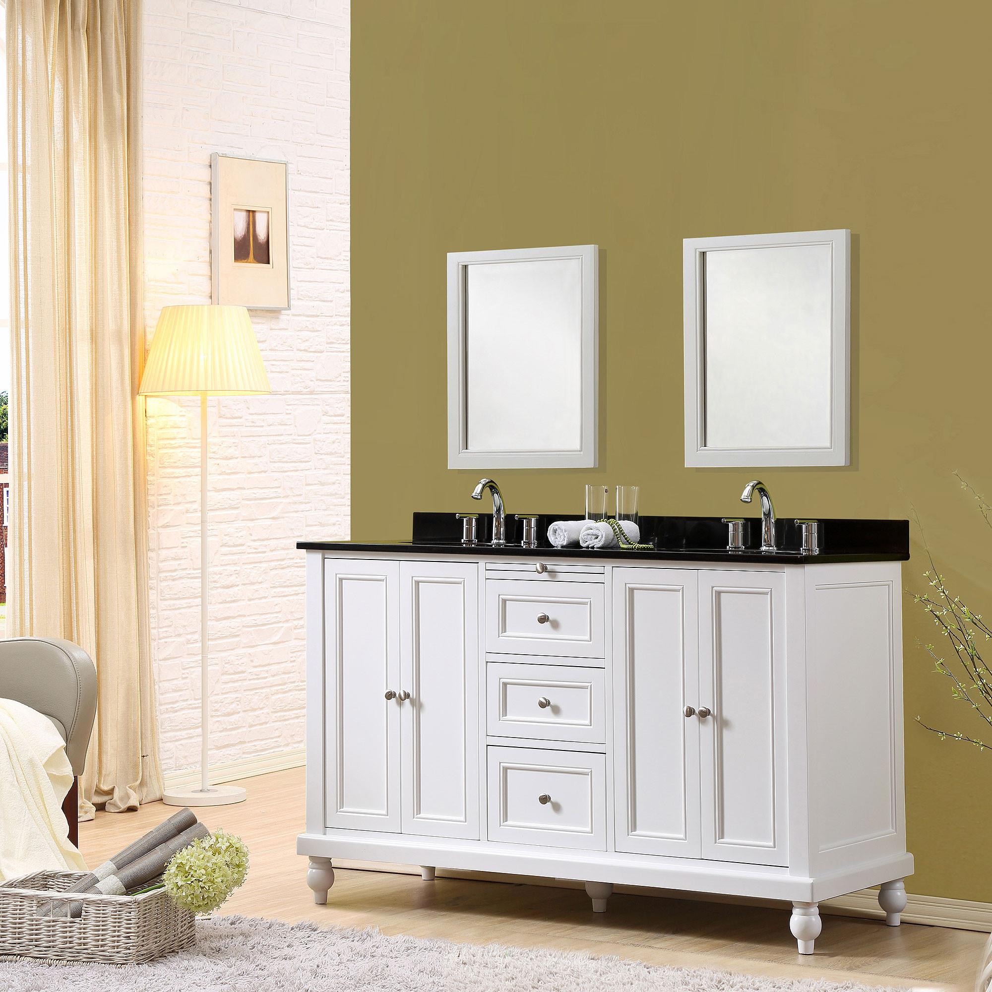 """Direct Vanity Sink 5060D9-BK Classic 60"""" White Vanity With Black Granite Vanity Top"""