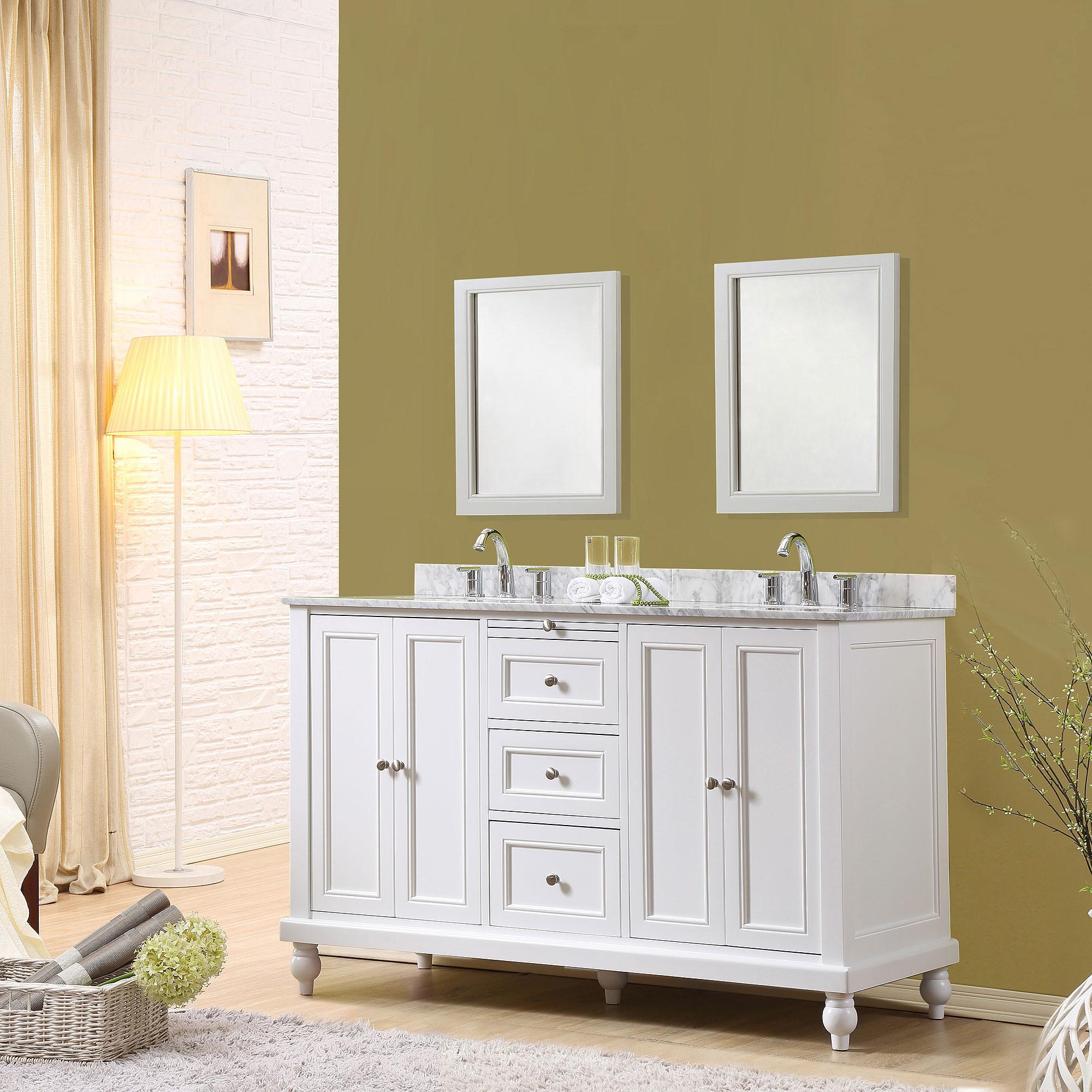 "Direct Vanity Sink 5060D9-WW Classic 60"" White Vanity With Carrara White Marble Vanity Top"