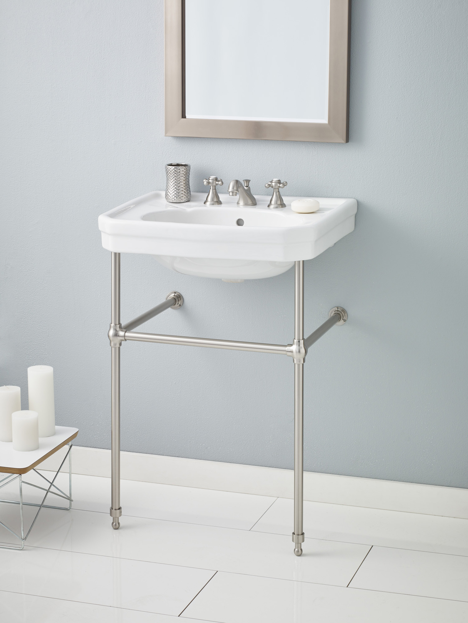 Cheviot 511-25-WH-8-575-BN Mayfair Lavatory Sink with Brushed Nickel Console Stand